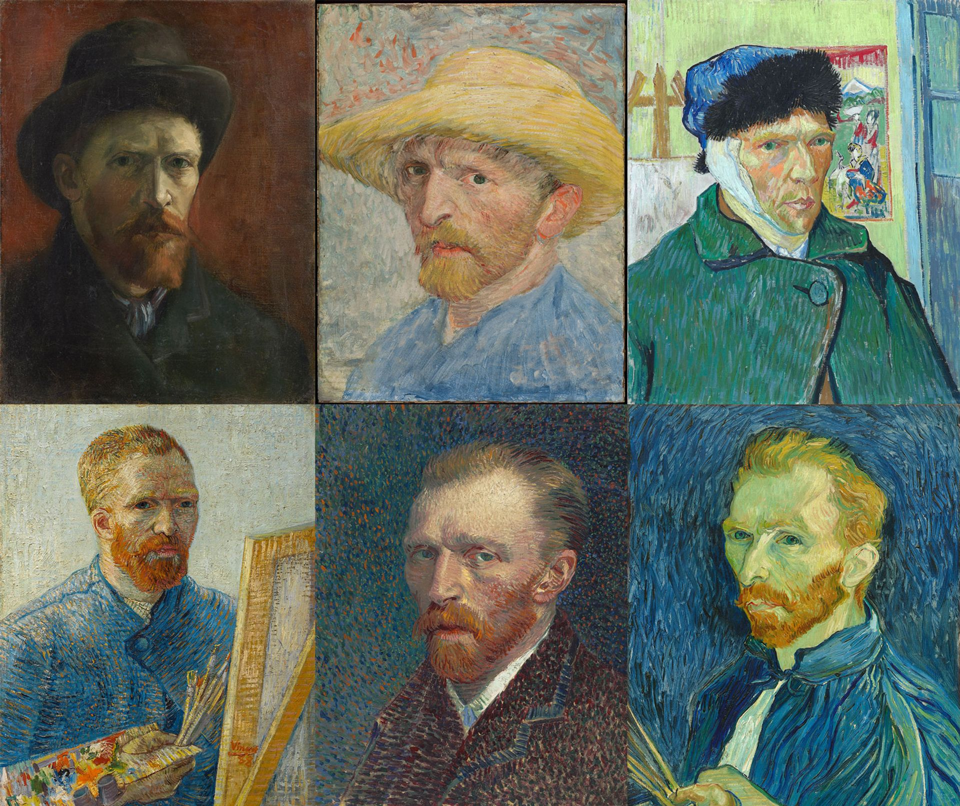 Clockwise from top left: Vincent van Gogh's Self-Portrait with Dark Felt Hat (1886-87), Self-Portrait with Straw Hat (1887), Self-Portrait with Bandaged Ear (1889), Self-Portrait (1889), Self-Portrait (1887) and Self-Portrait as a Painter (1888) © Vincent van Gogh Foundation; Detroit Institute of Arts / Bridgeman Images; Courtauld; National Gallery of Art, Washington DC; Art Institute of Chicago, CC Zero; Vincent van Gogh Foundation