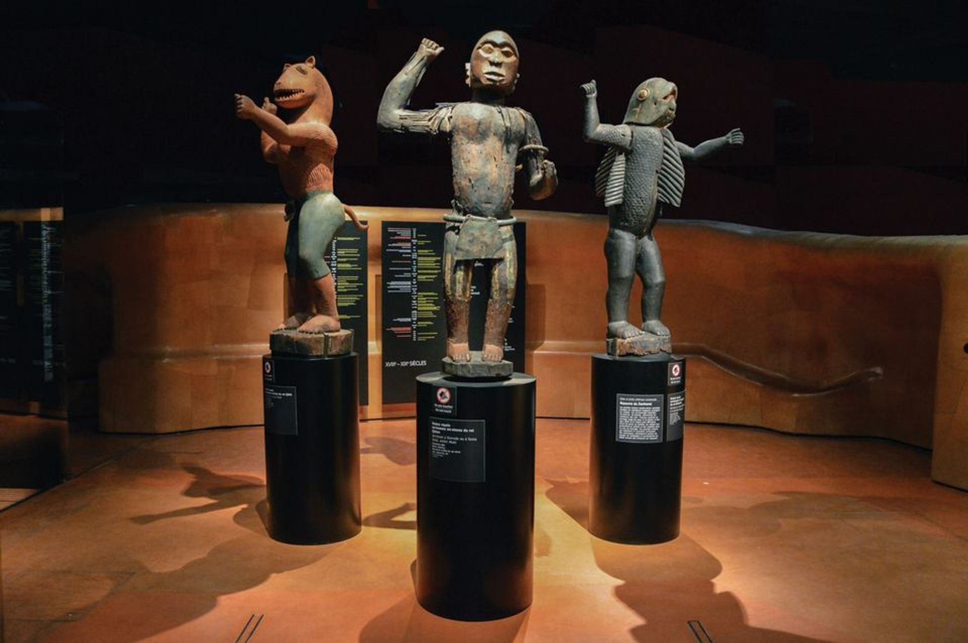 Anthropomorphic statues representing three kings of Dahomey (present-day Benin) were plundered by French troops in 1892 and are held today at the Quai Branly museum in Paris Photo: Shonagon