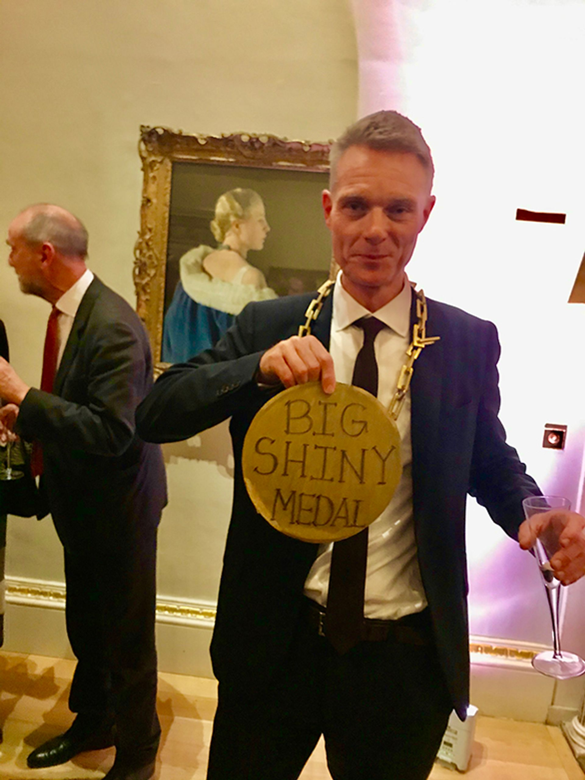 Former RA artistic director Tim Marlow with his Big Shiny Medal Courtesy of Louisa Buck