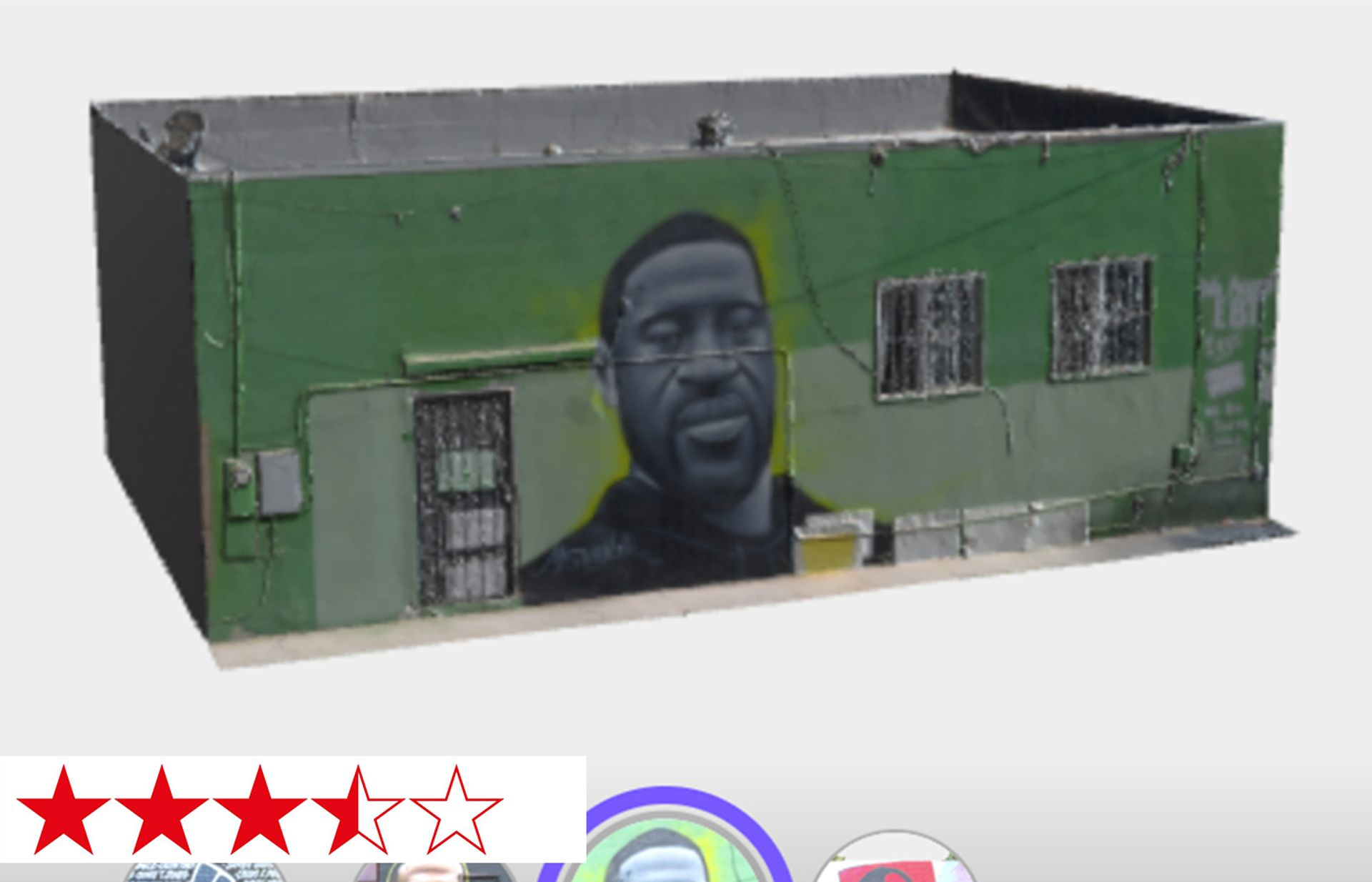 A browser view of the 3D model created using photogrammetry of  Misteralek's mural of George Floyd on a convenience store in Wilmington Avenue, in the Watts district of Los Angeles