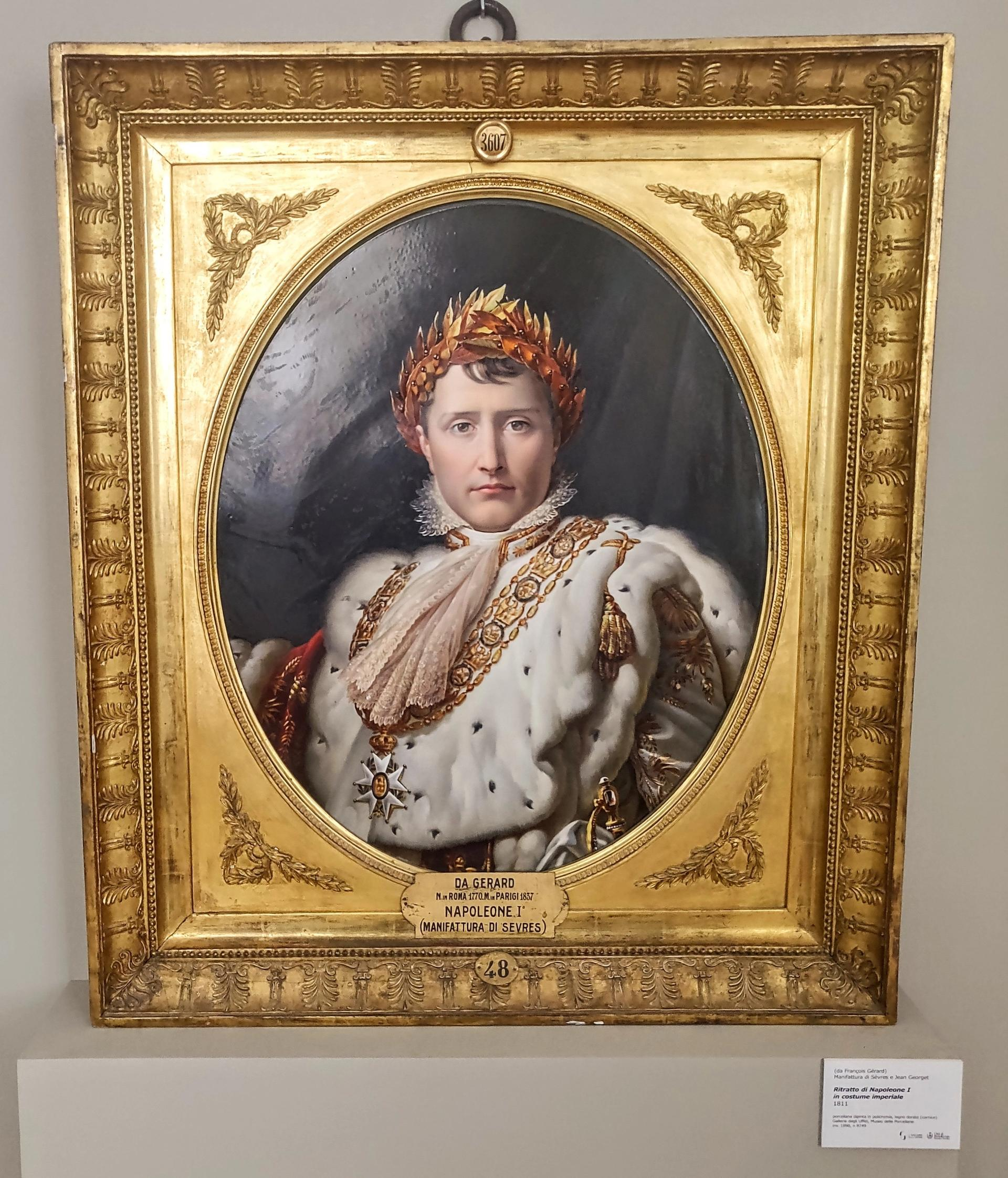 A portrait of Napoleon I painted by Jean Georget on a large porcelain tile, which created at the Sèvres manufactory in 1810