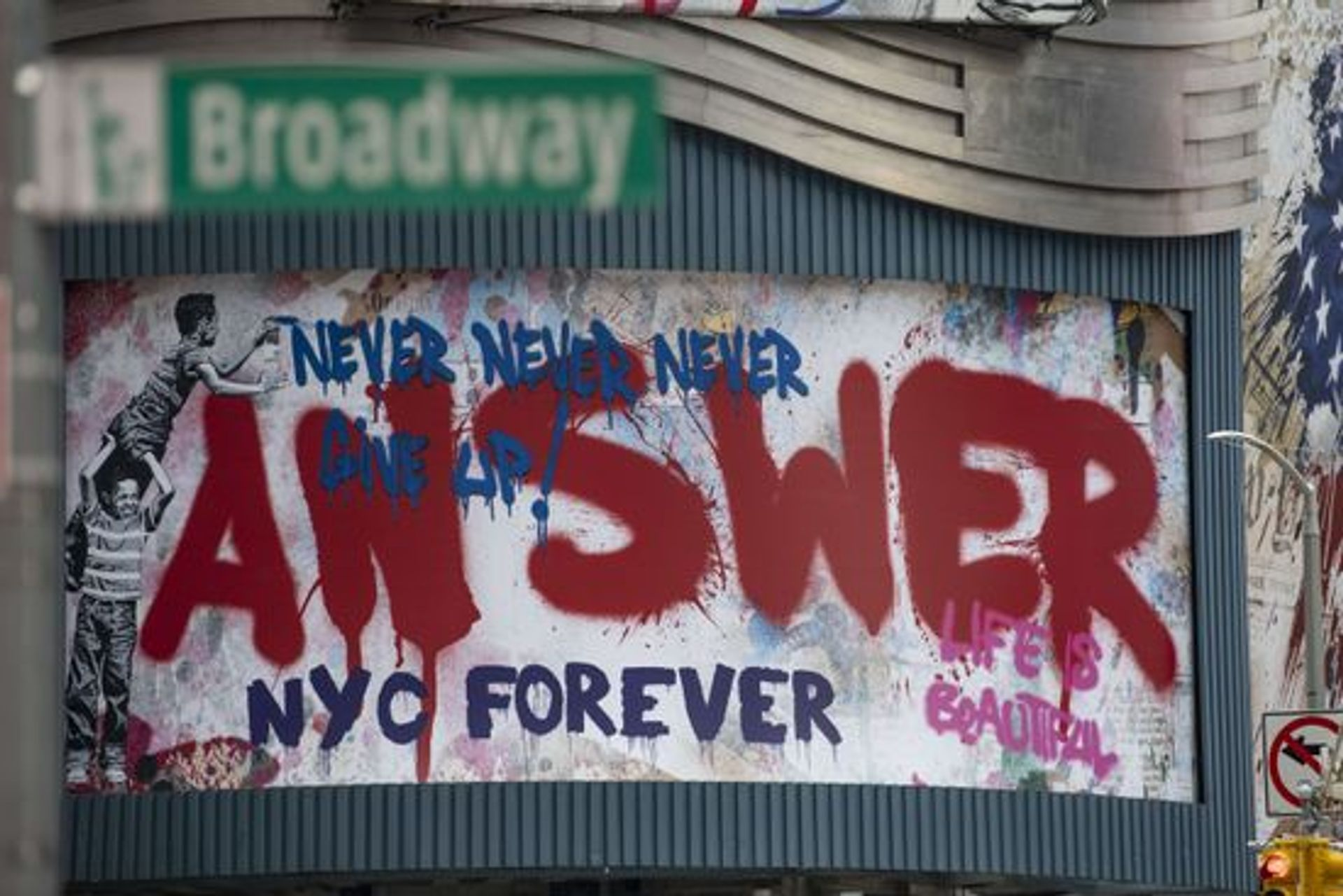 Graffiti art in New York's Broadway theatre district, which has been shuttered since March. Kostas Lymperopoulos/CSM