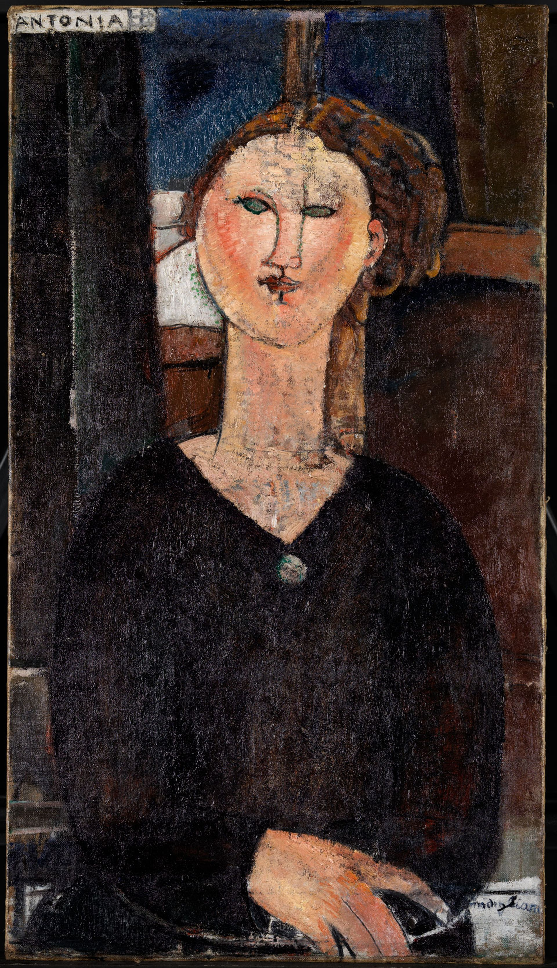 France's national museums laboratory has conducted a forensic study of every Modigliani painting and sculpture in the country's public collections. Antonia (around 1915) has emerged as the most complex of all © Centre de Recherche et de Restauration des Musées de France/Gérald Parisse