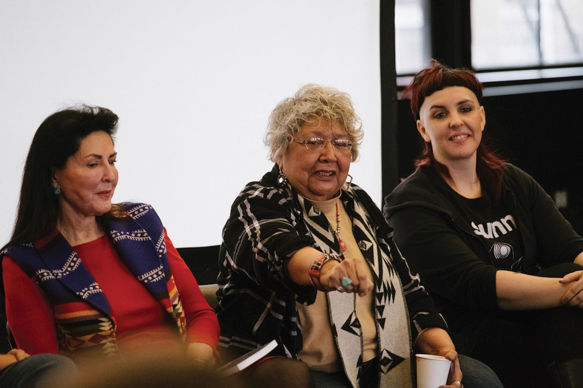 Muriel Miguel (center) the founding director of the Spiderwoman Theater at the First Nations Dialogues last January Photo: Da Ping Luo