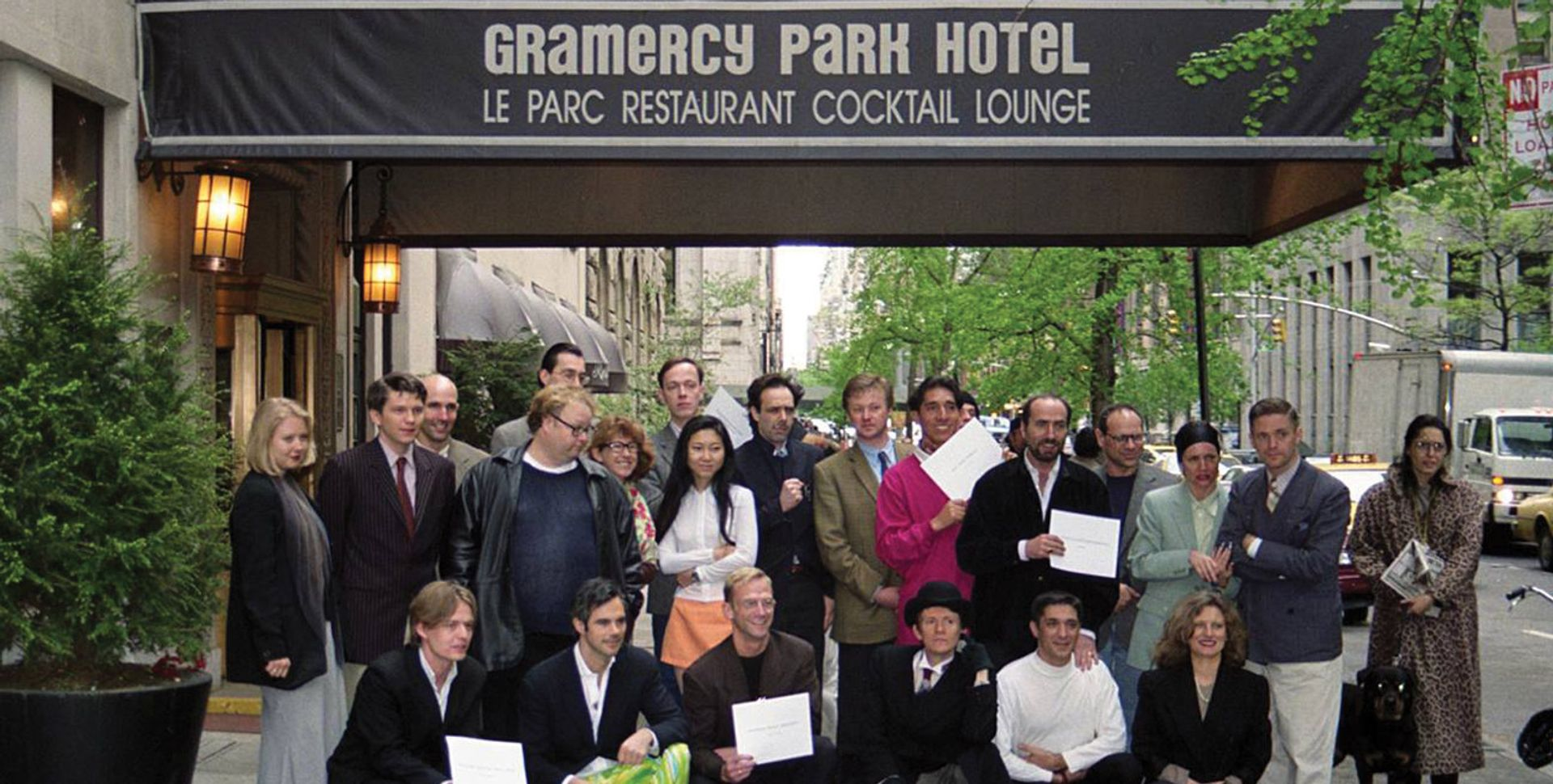 'Class of 1996' dealers in front of the Gramercy Park Hotel in 1996 Photo: © Sylvie Ball