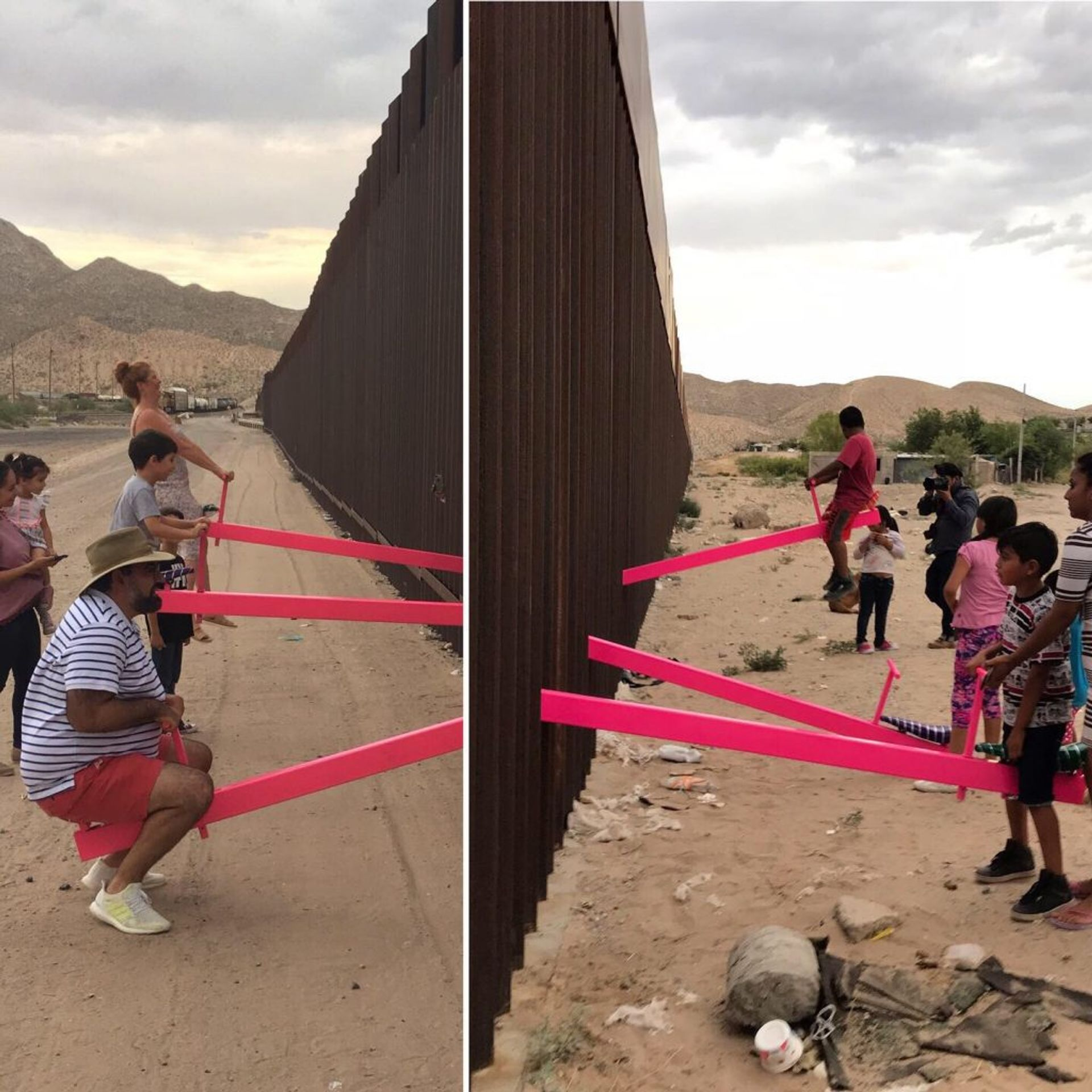 Ronald Rael and Virginia San Fratello's seesaw installation was unveiled yesterday Courtesy of the artists and University of California Press