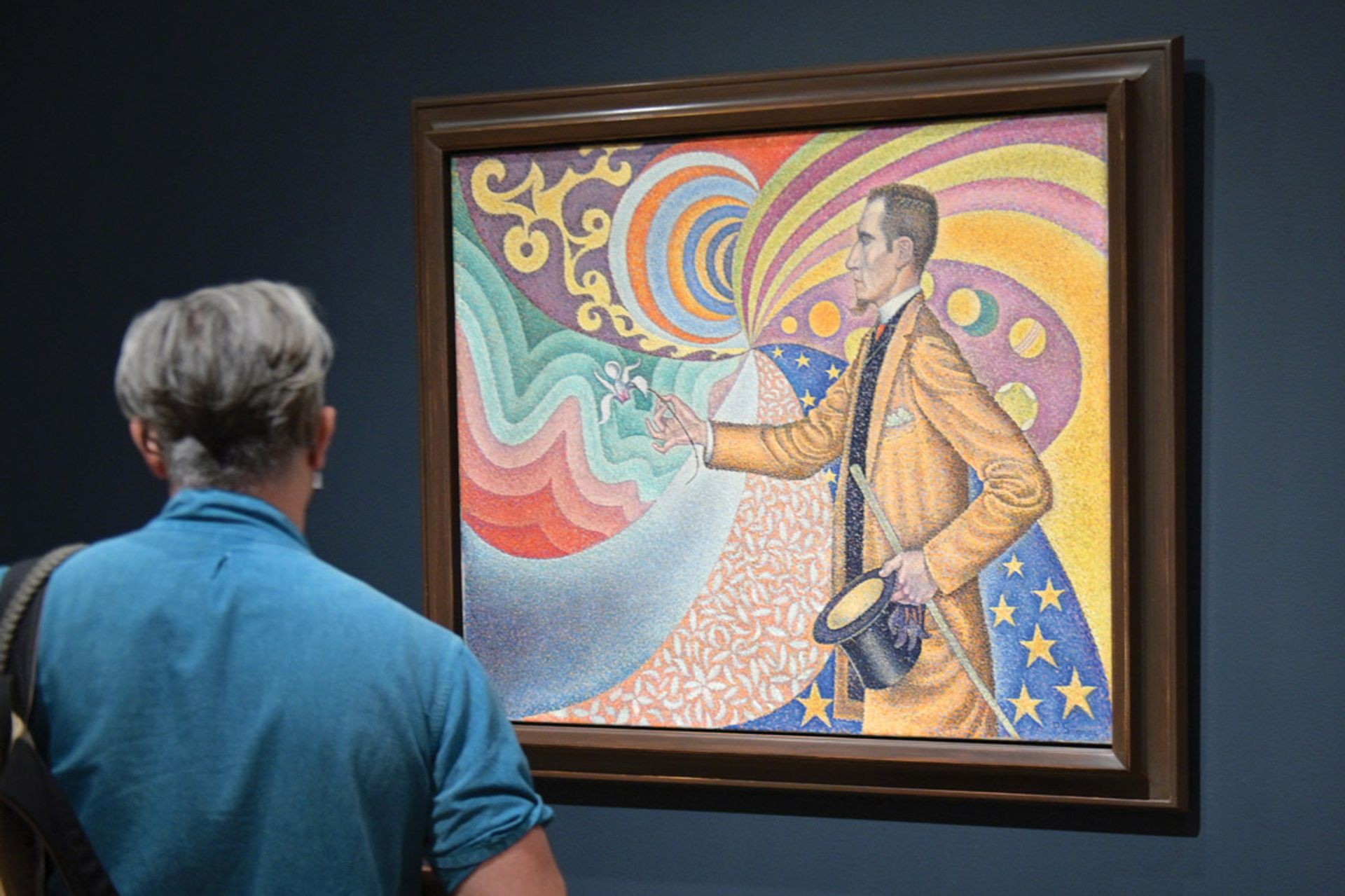 Signac's 1890 portrait Opus 217. Against the Enamel of a Background Rhythmic with Beats and Angles, Tones, and Tints depicts Fénéon's devotion to Neo-Impressionist colour theory Photo: Michael Loccisano/Getty Images