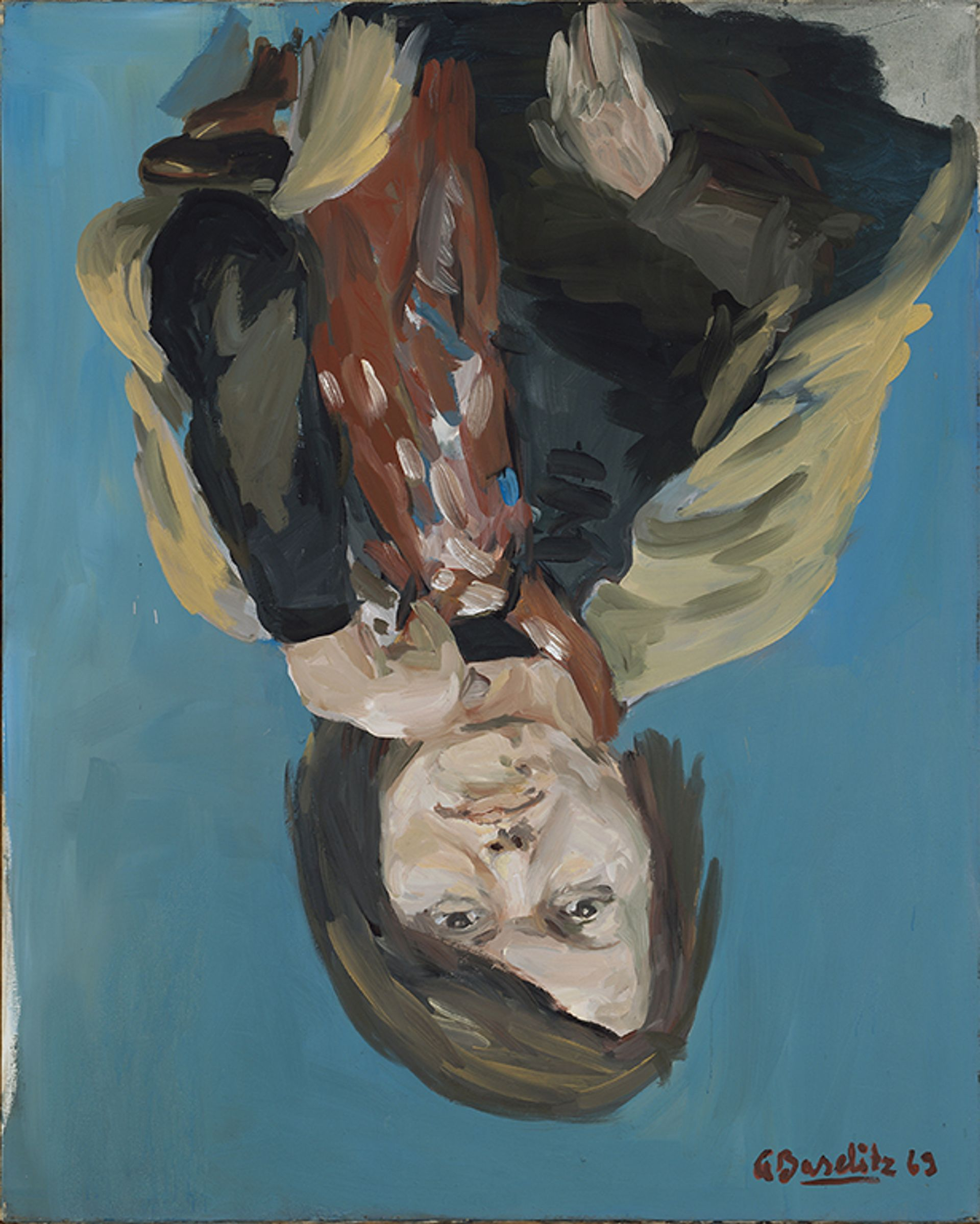 Georg Baselitz's Portrait of Elke I, one of six 1969 paintings donated by the artist and his wife to the Metropolitan Museum of Art The Metropolitan Museum of Art, Gift of the Baselitz Family, 2020, © Georg Baselitz 2021