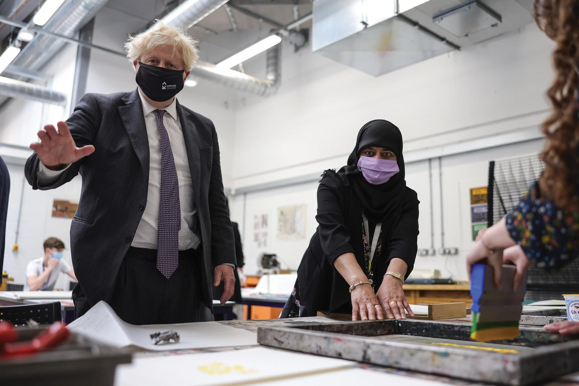 UK Prime Minister Boris Johnson visiting Kirklees College in Dewsbury Photo: Andrew Parsons / No 10 Downing Street