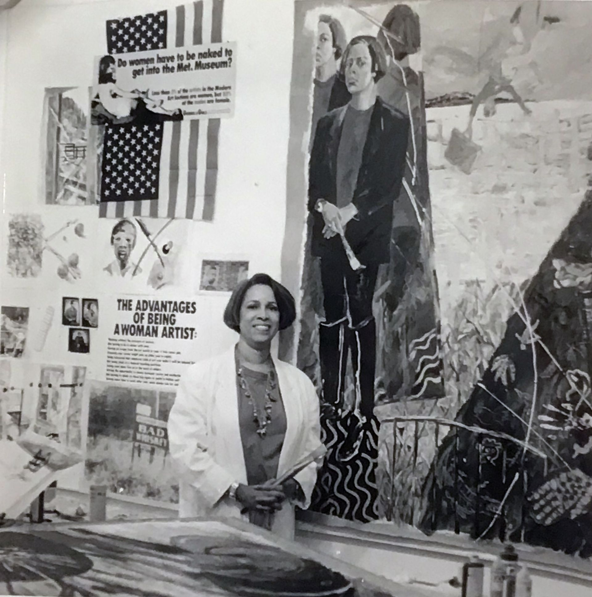 Emma Amos in her studio in the '90s Courtesy Ryan Lee Gallery