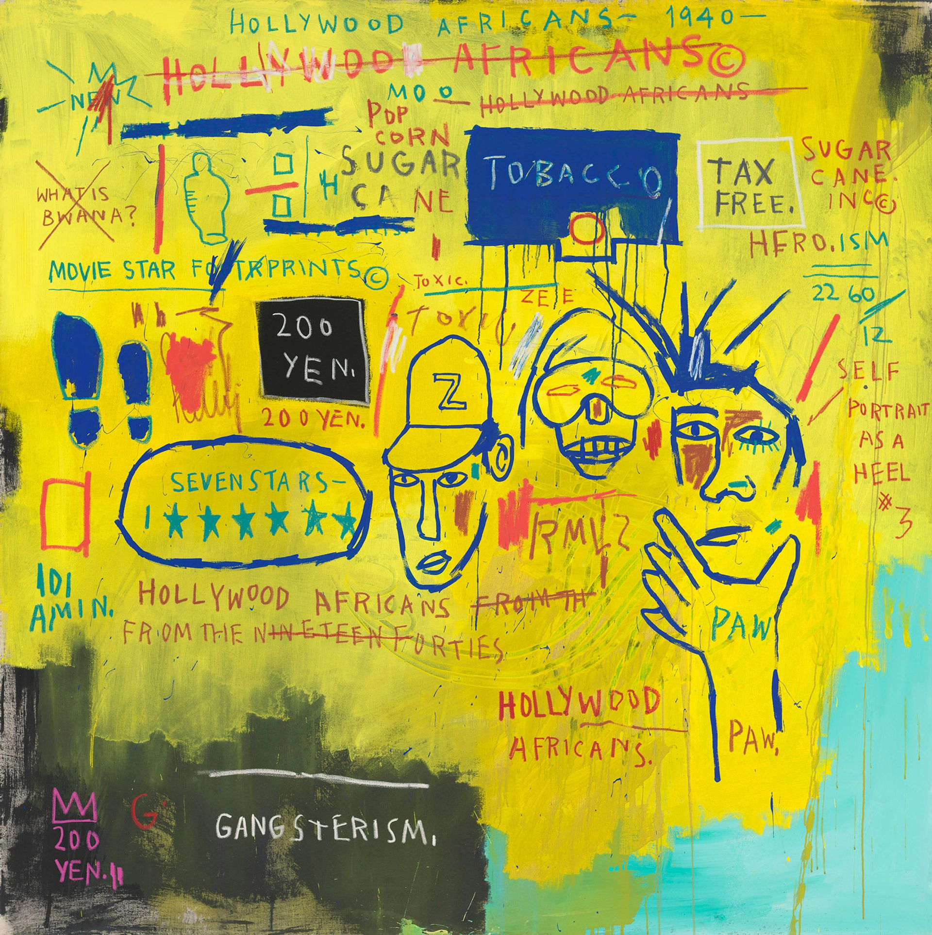 Hollywood Africans (1983) by Jean-Michel Basquiat includes portraits of fellow artists Rammellzee and Toxic © Estate of Jean-Michel Basquiat. Licensed by Artestar, New York