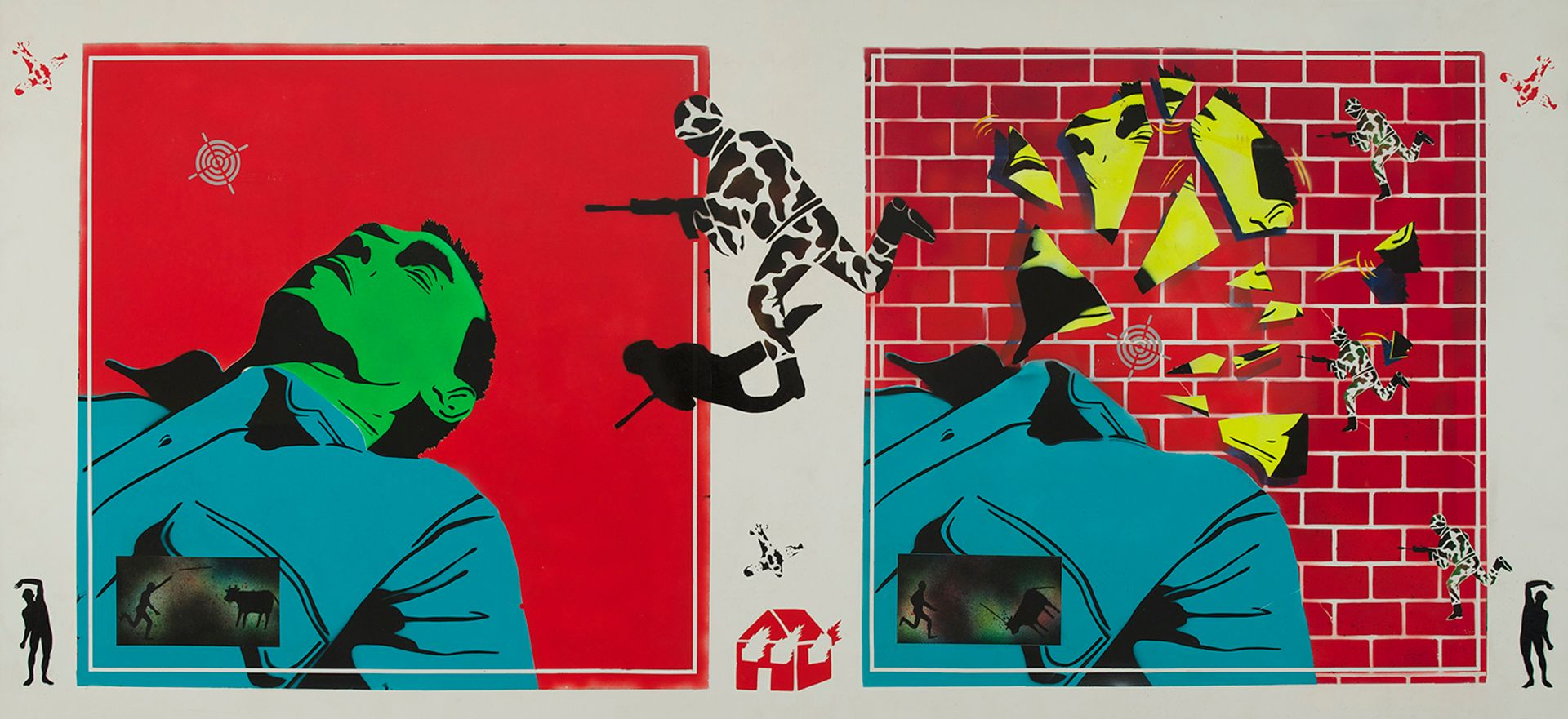 David Wojnarowicz, Untitled (Green Head) (1982) Collection of Hal Bromm and Doneley Meris. Image courtesy of the Estate of David Wojnarowicz and P.P.O.W, New York