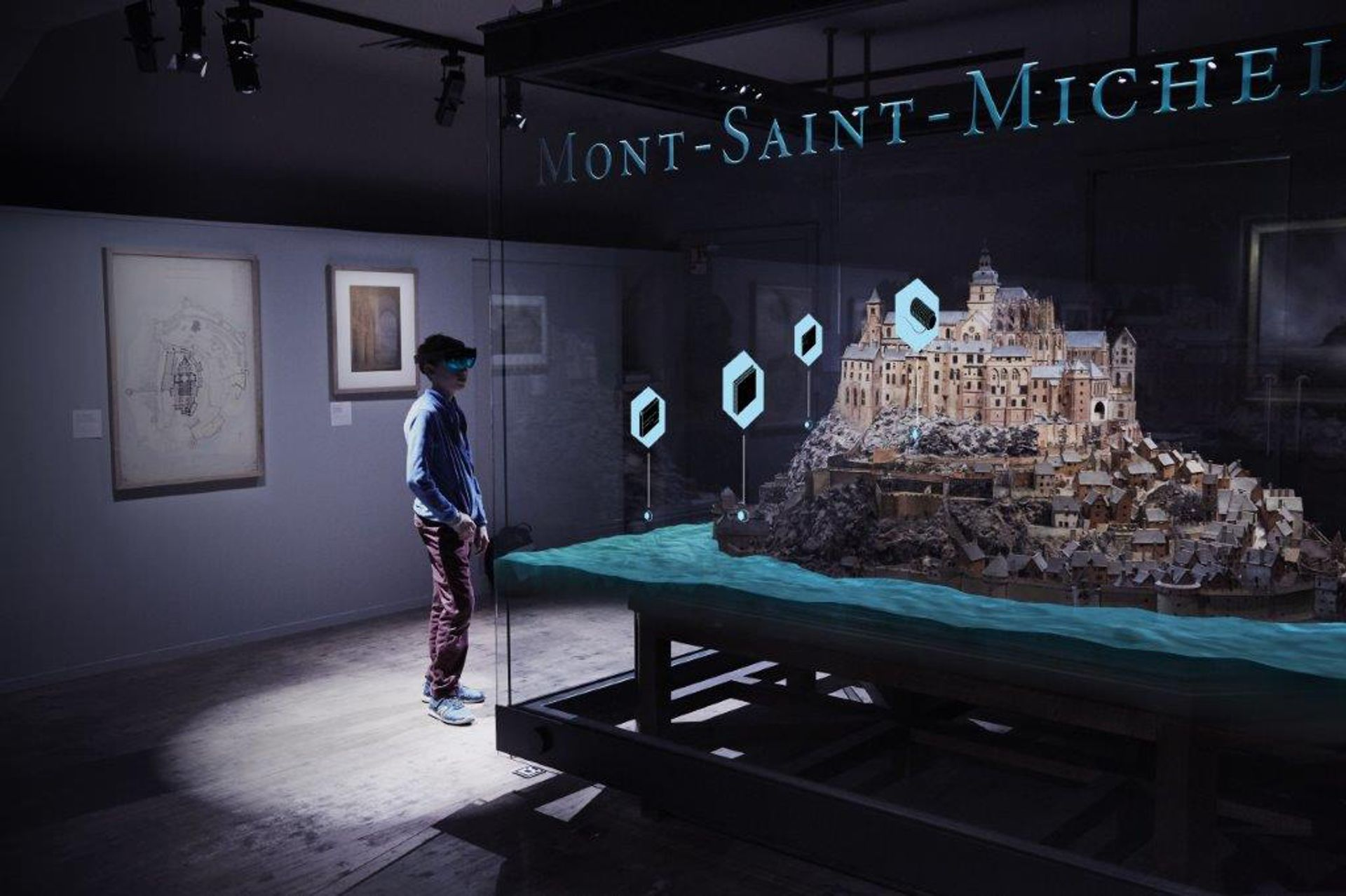 A 3D relief map of Mont Saint-Michel that Microsoft and partners brought to life through mixed-media technology at the Musée des Plans-Reliefs in Paris.