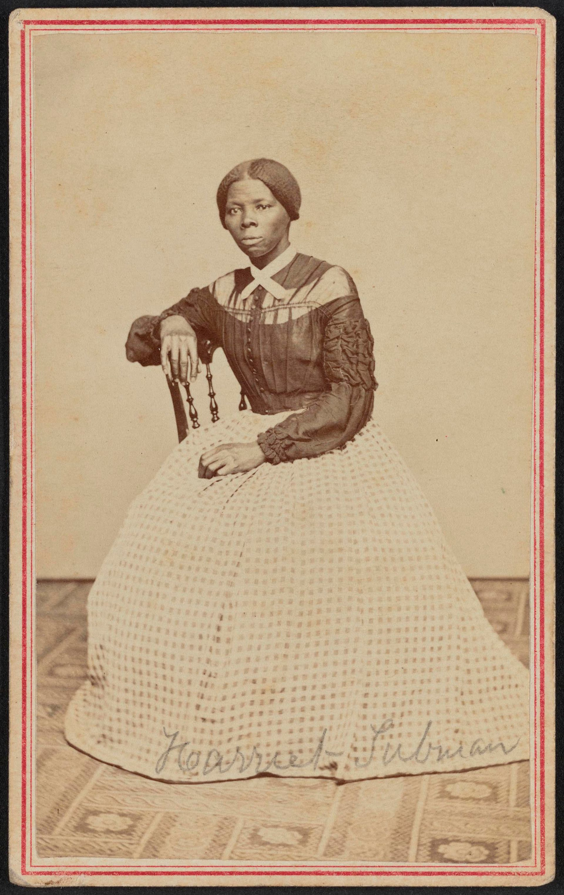 Harriet Tubman in a rediscovered carte de visite photograph (around 1868-69) Collection of the Smithsonian National Museum of African American History and Culture shared with the Library of Congress