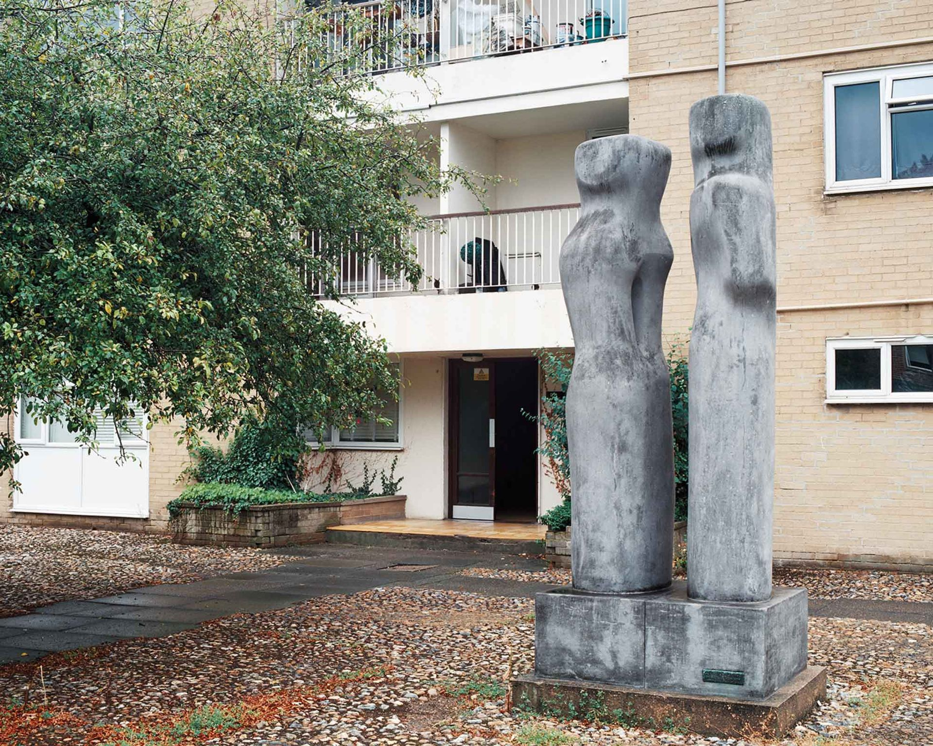 Barbara Hepworth's Contrapuntal Forms (1951) started life at the 1951 Festival of Britain on London's South Bank before taking up residence among blocks of flats in Harlow Photo: courtesy of the Harlow Art Trust