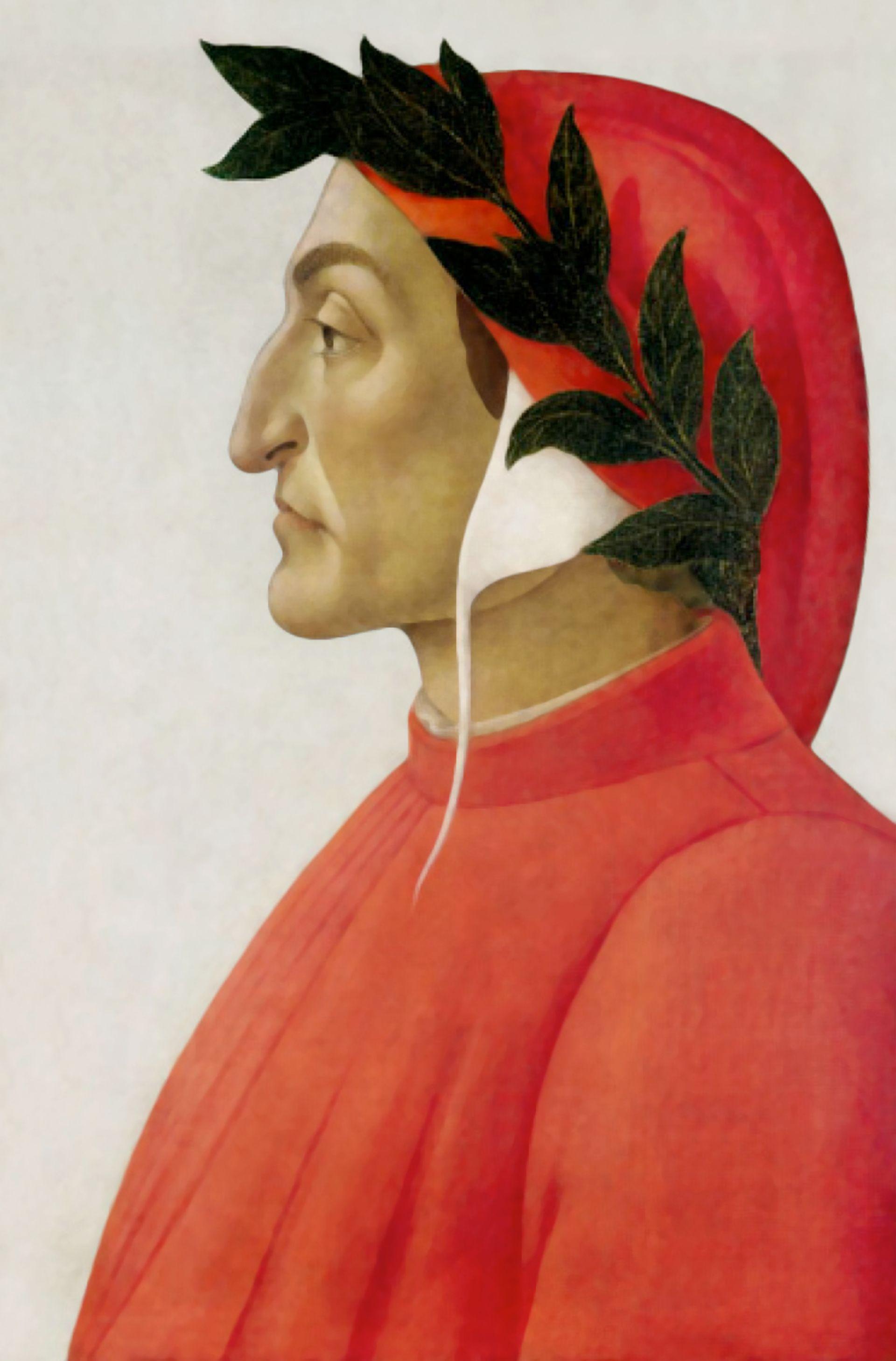 A posthumous portrait of Dante by Sandro Botticelli (1495)