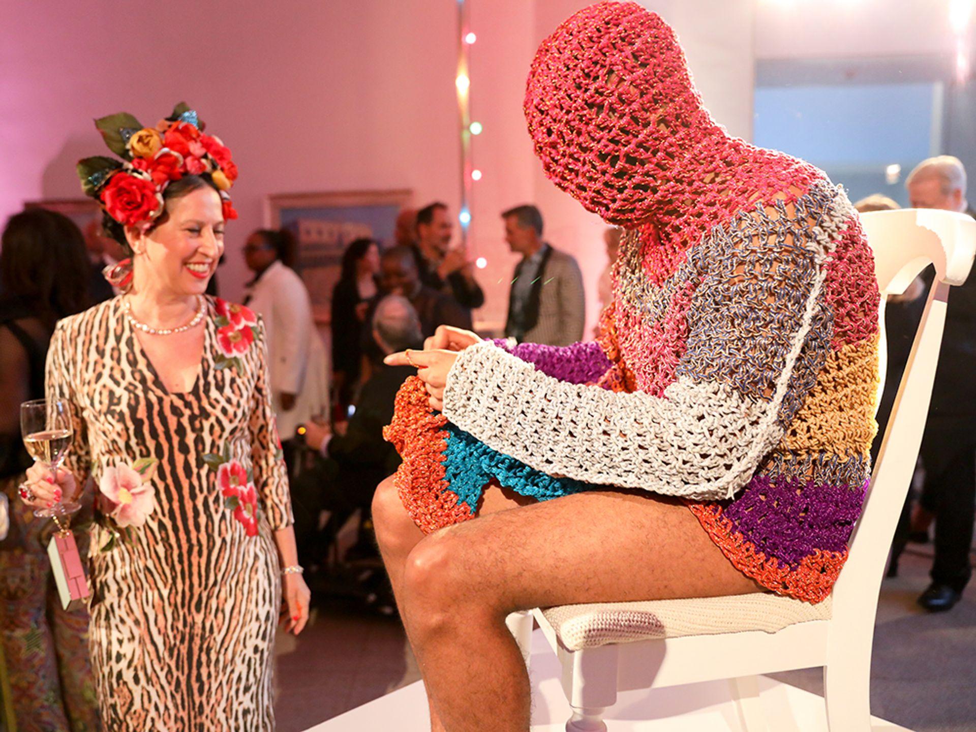A bold crocheted performance at the Brooklyn Artists Ball Photo: Benjamin Lozovsky/BFA.com