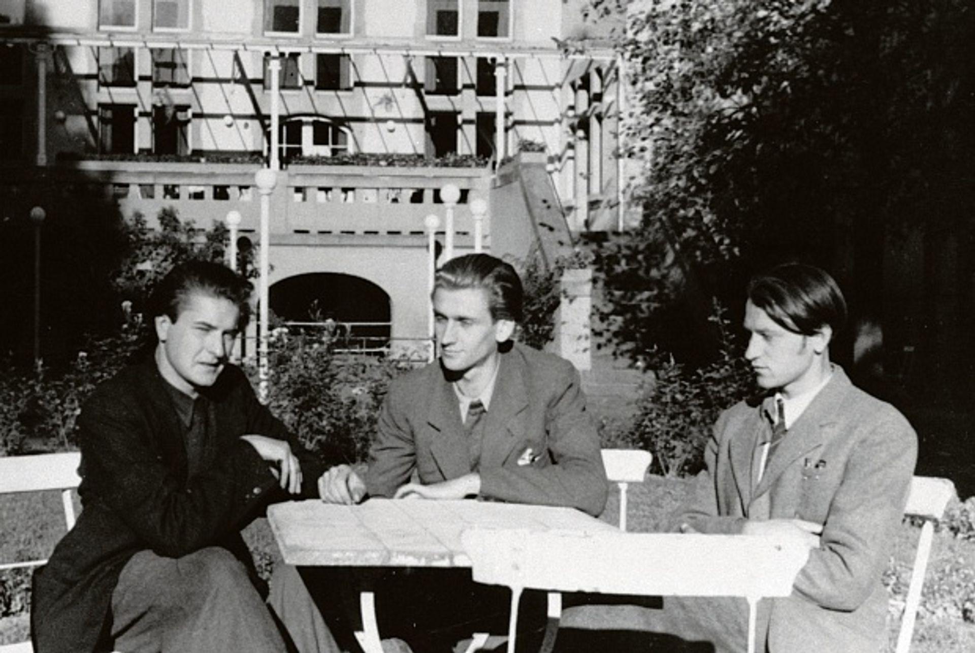 The artist Jonas Mekas (far right) in Wiesbaden, in 1945, with his brother, Adolfas, and friend Algirdas Landsbergis. Jonas Mekas