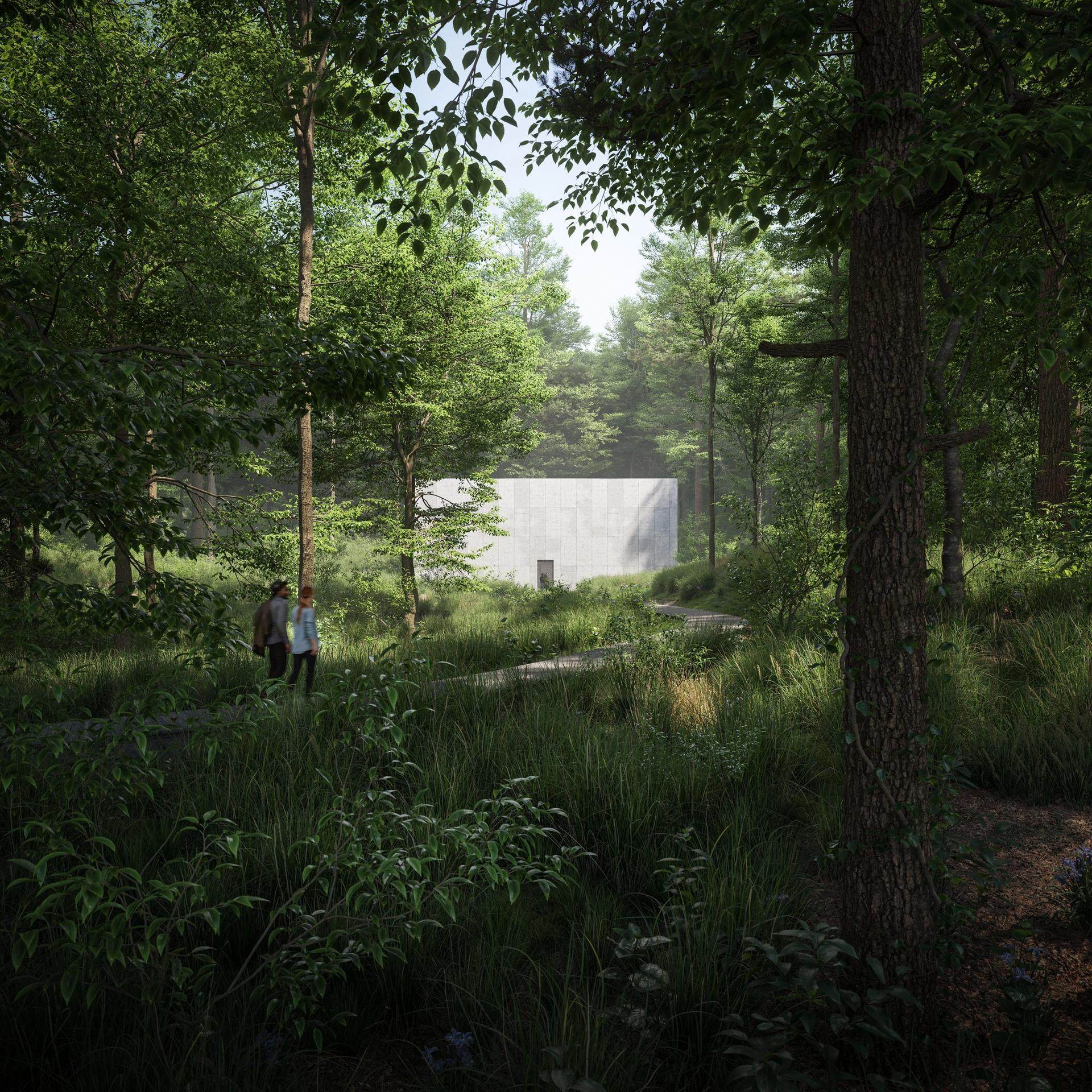 A rendering of the forest approach to the new building at Glenstone Museum Image: The Boundary. Courtesy of Glenstone Museum