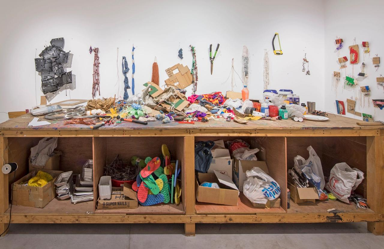Hassan's Atelier (2017). Installation view of Hassan Sharif: I Am the Single Work Artist at Sharjah Art Foundation Courtesy of Sharjah Art Foundation