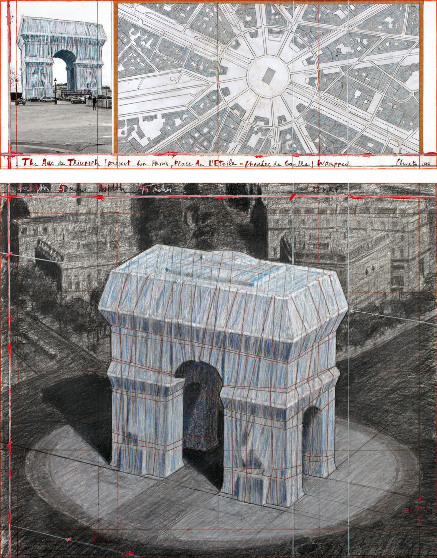 Christo's collage The Arc de Triumph (Project for Paris, Place de l'Etoile – Charles de Gaulle) Wrapped (2018) Photo: André Grossmann;  © 2018 Christo