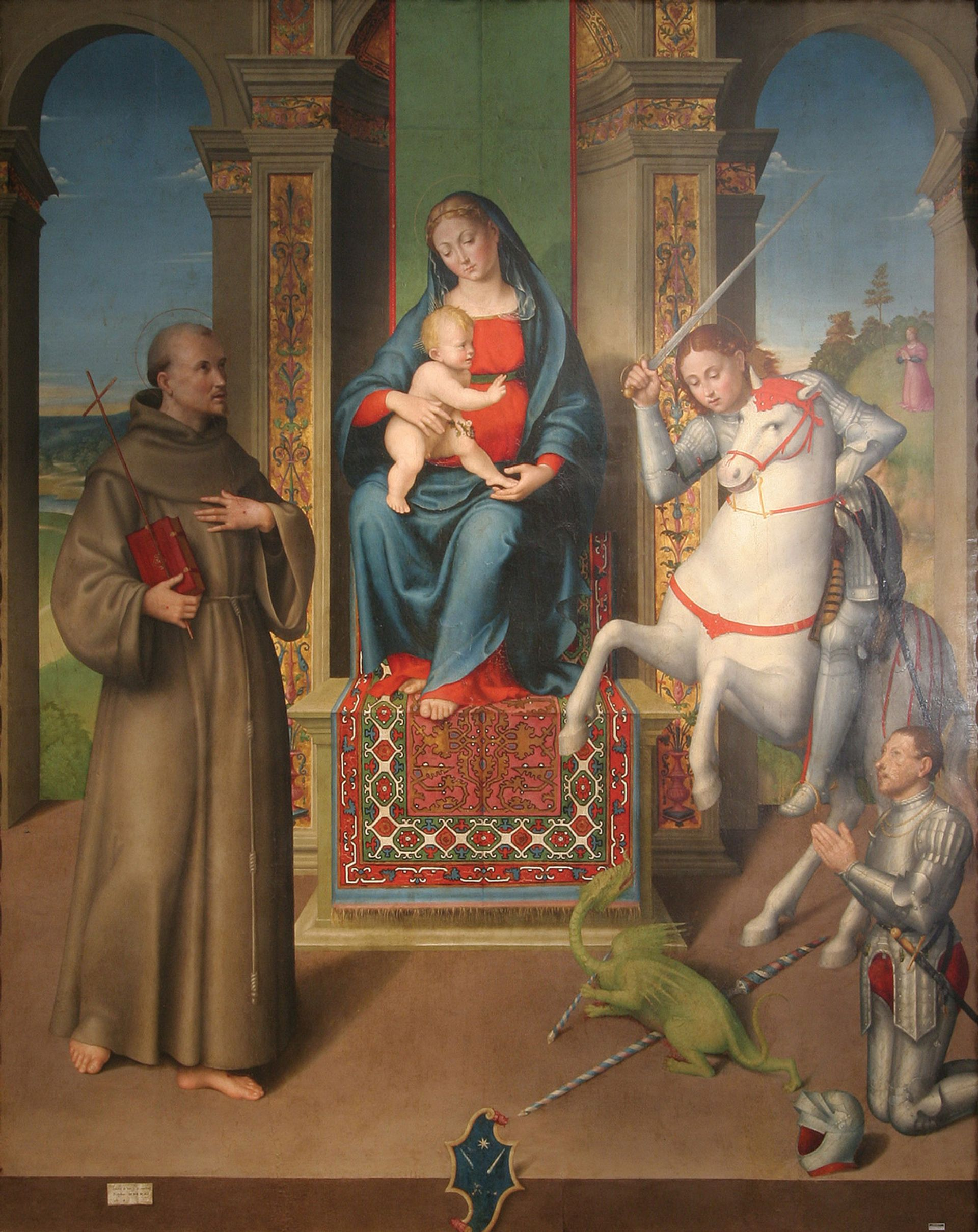 The figures in Luca Longhi's Virgin and Child with Saints Francis and George (1532) are icon-like… Museo Storico Archeologico; Santarcangelo di Romagna