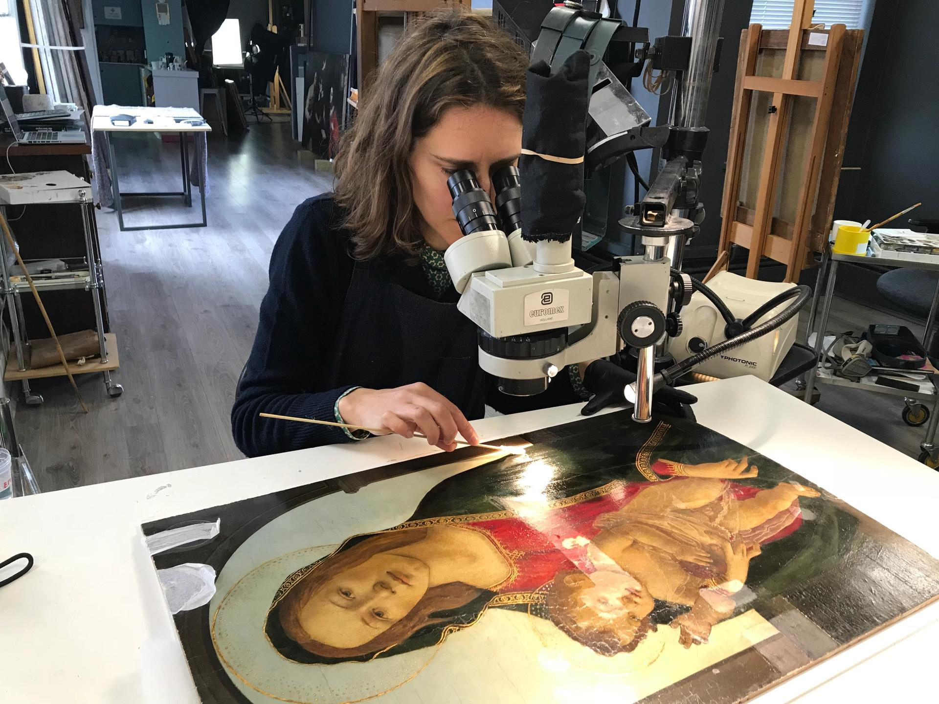 The Madonna and Child under restoration Courtesy of National Museum of Cardiff