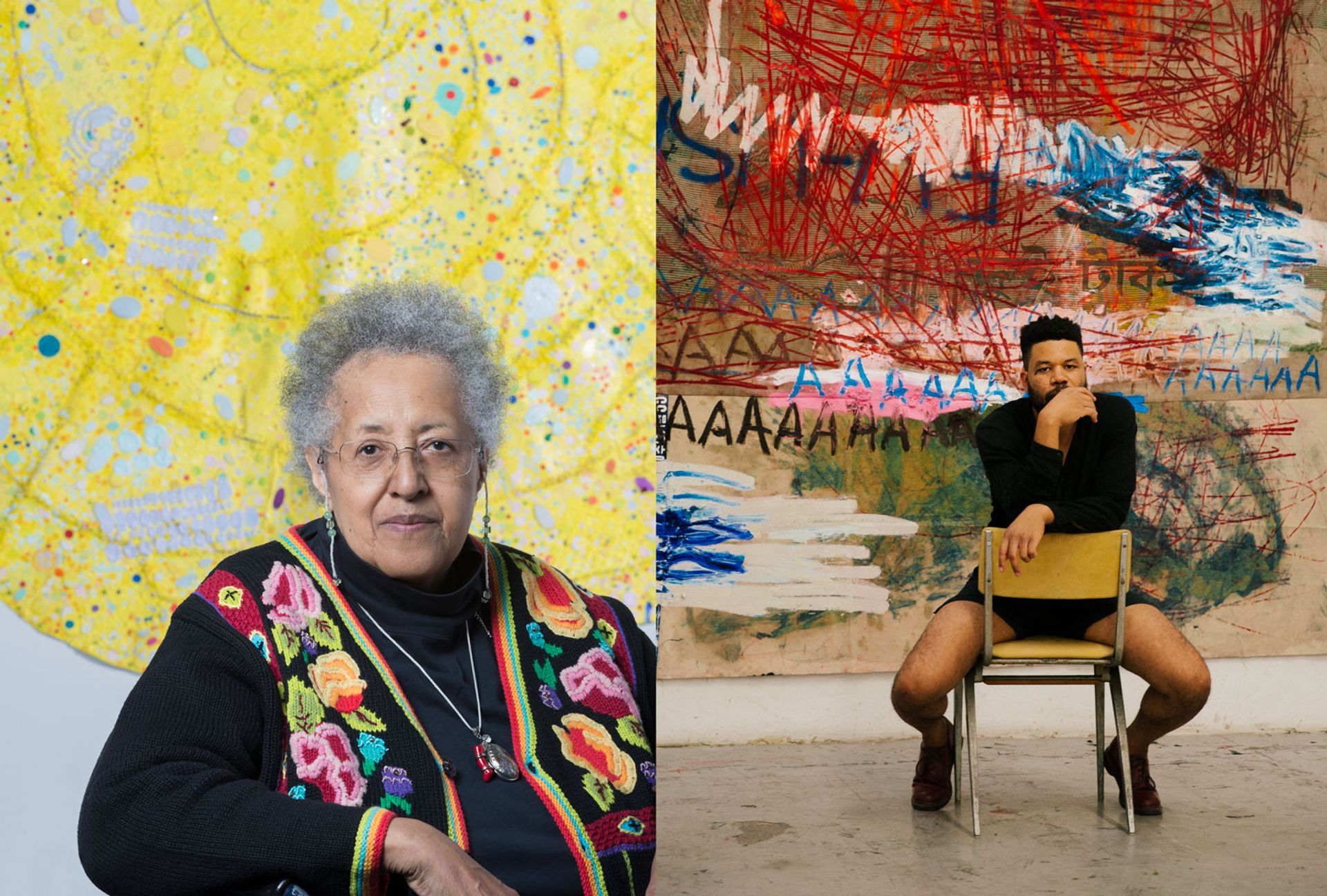Howardena Pindell and Oscar Murillo have shows on in London © Nathan Keay 2018 (Pindell) © Greg Lin Jiajie (Murillo)