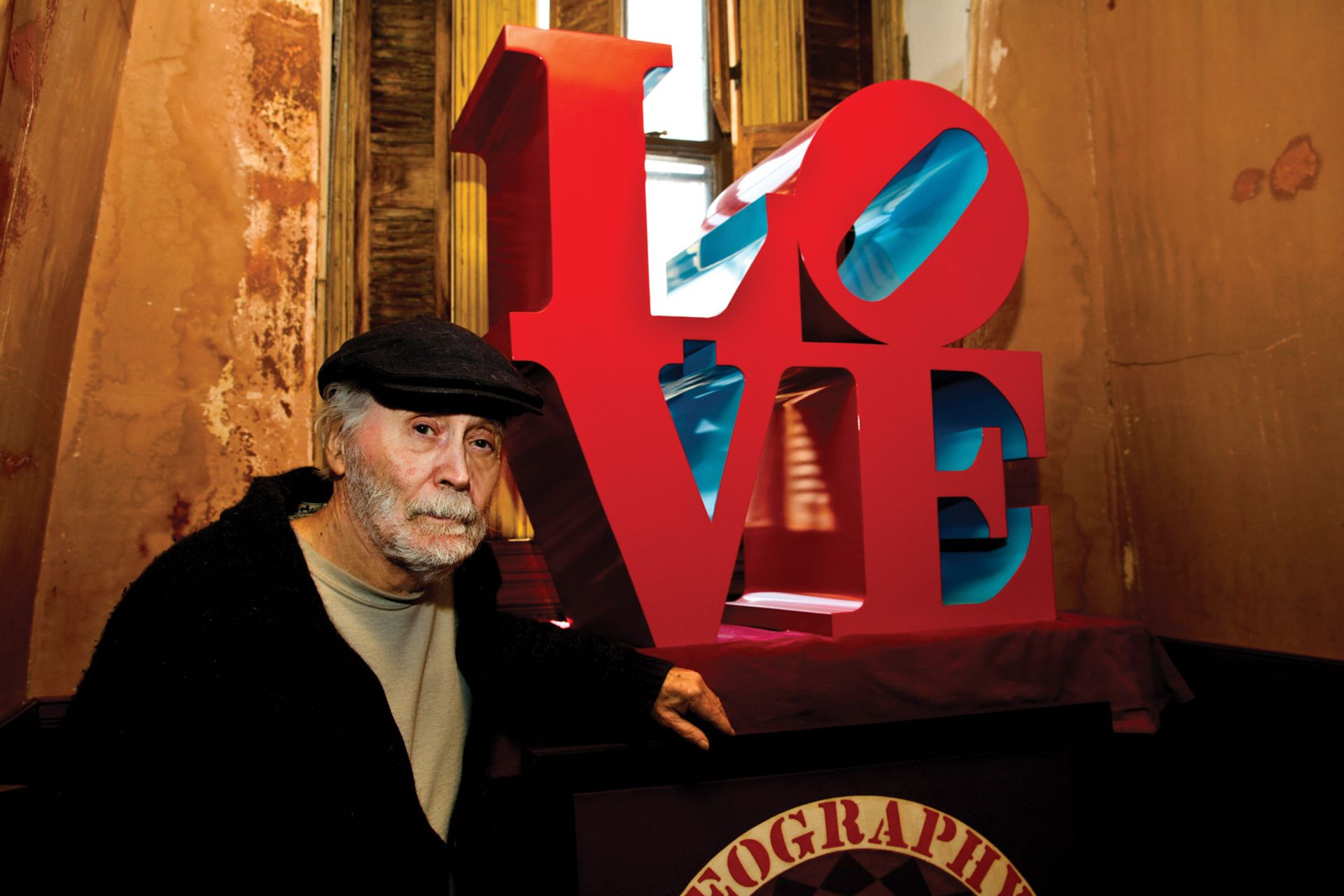 Loving it: Robert Indiana with a version  of his most famous work Courtesy of the Morgan Art Foundation