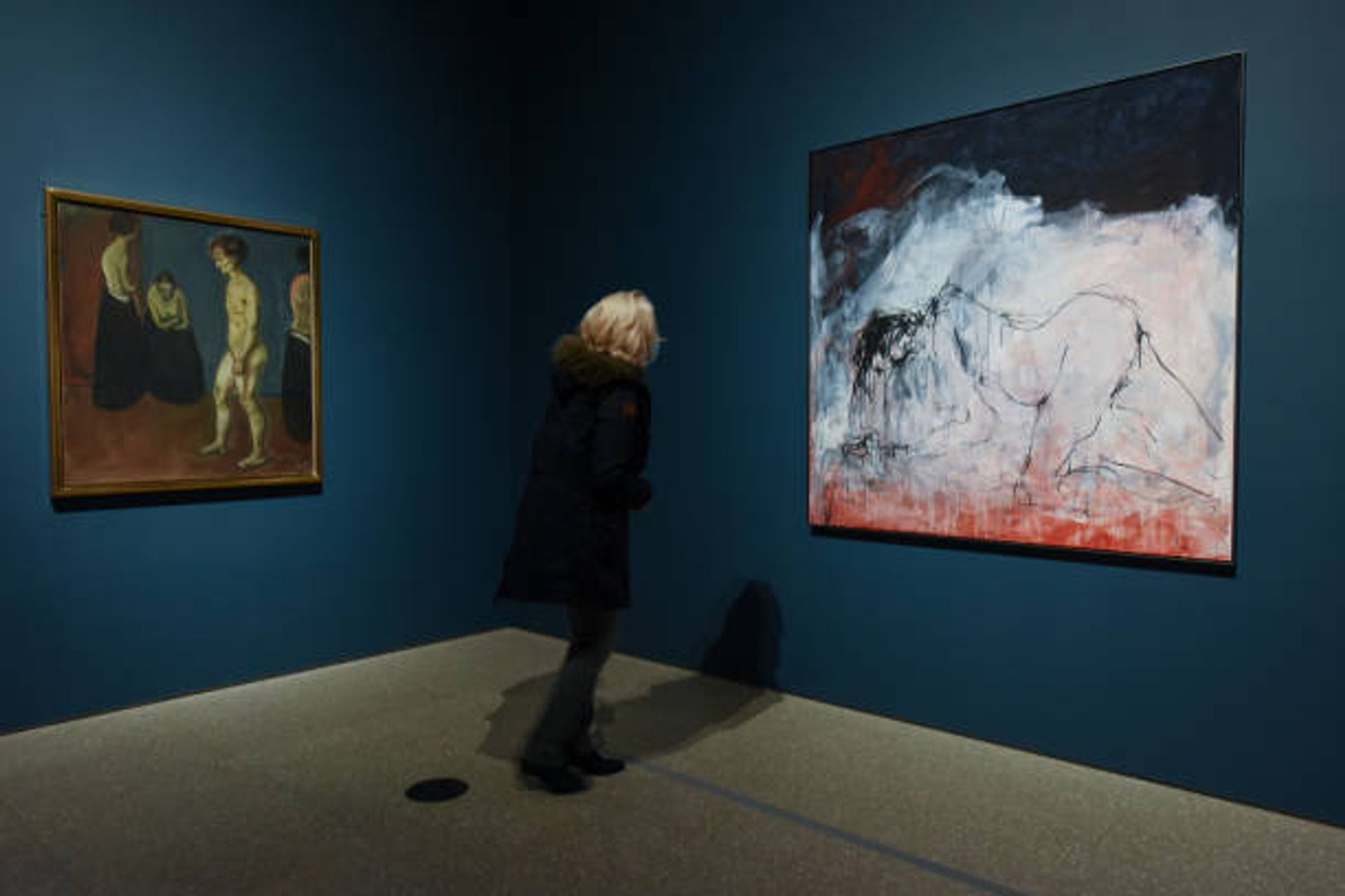 Many of the works in the show have been hung together to demonstrate their structural similarities, such as Emin's Black Cat (2008) and Munch's The Death of Marat II (1907) © Nicky J Sims/Getty Images