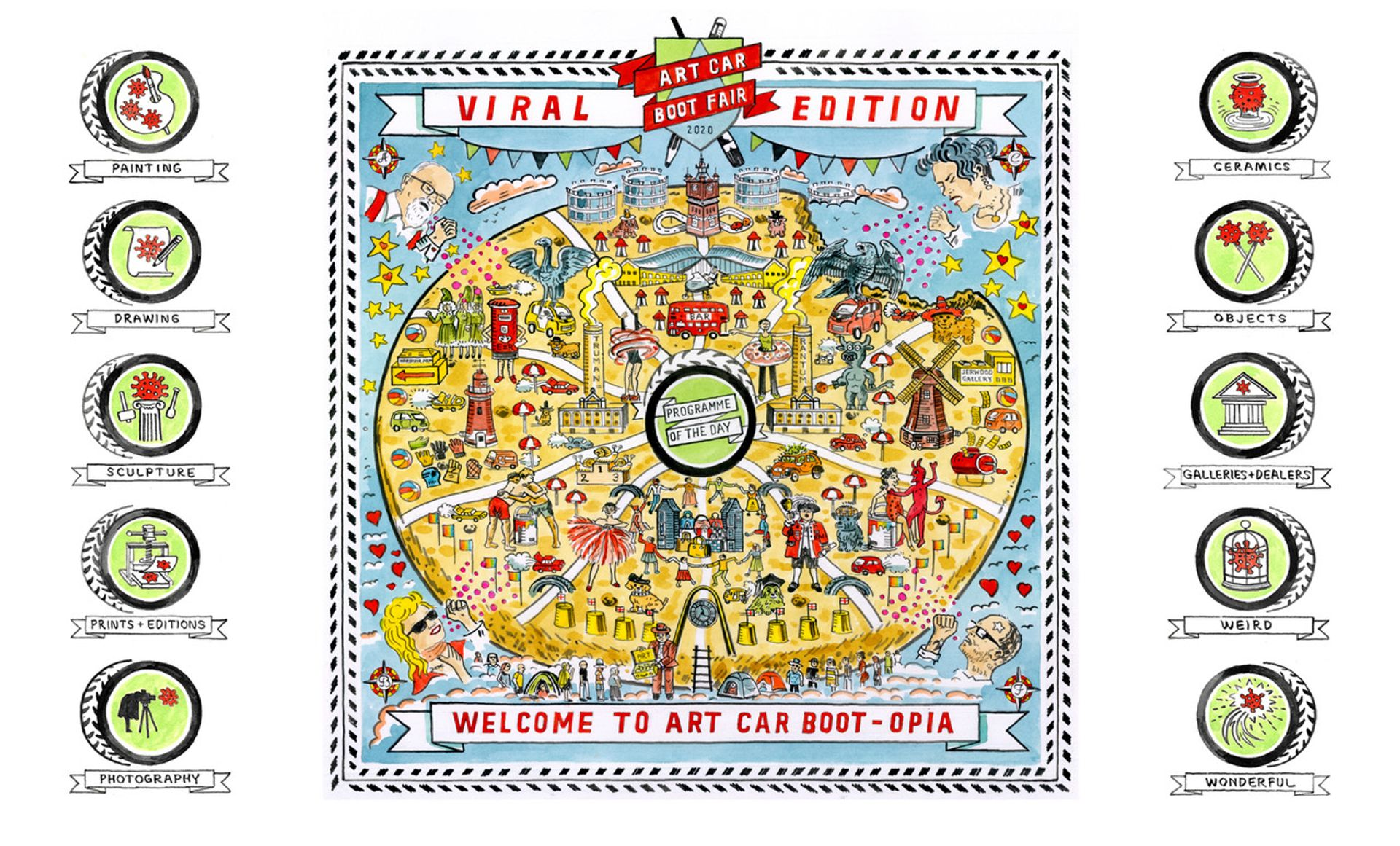 Adam Dant's Carbootopia map made for the Viral Art Car Boot Fair Courtesy of the artist and Art Car Boot Fair