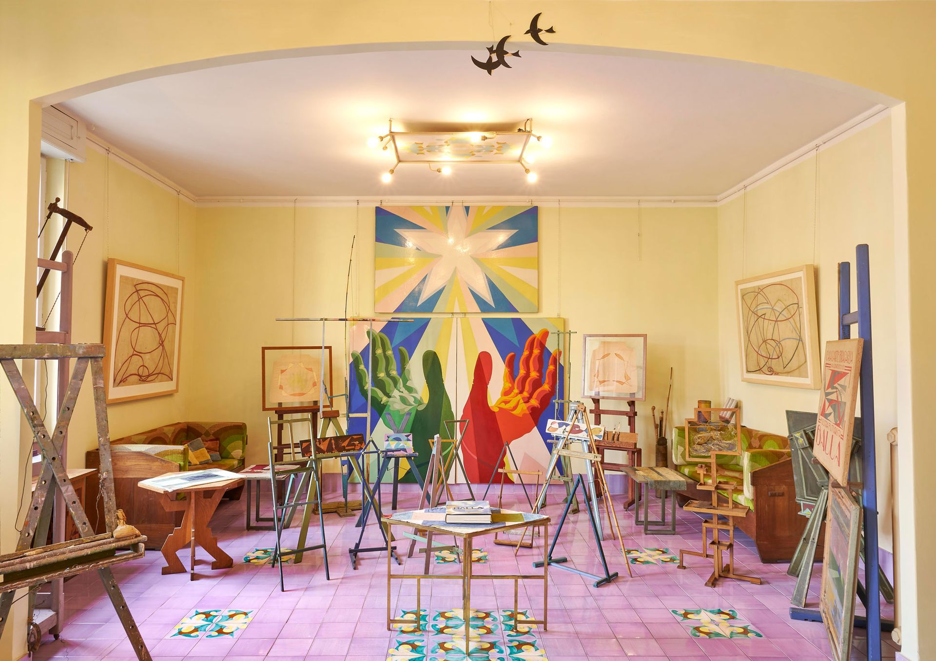 Giacomo Balla added his colourful Futurist designs to the walls and furniture of his Rome apartment, a total work of art now open for guided tours by MaXXI museum Photo: M3Studio; courtesy of Fondazione MAXXI; © Giacomo Balla, by SIAE 2021