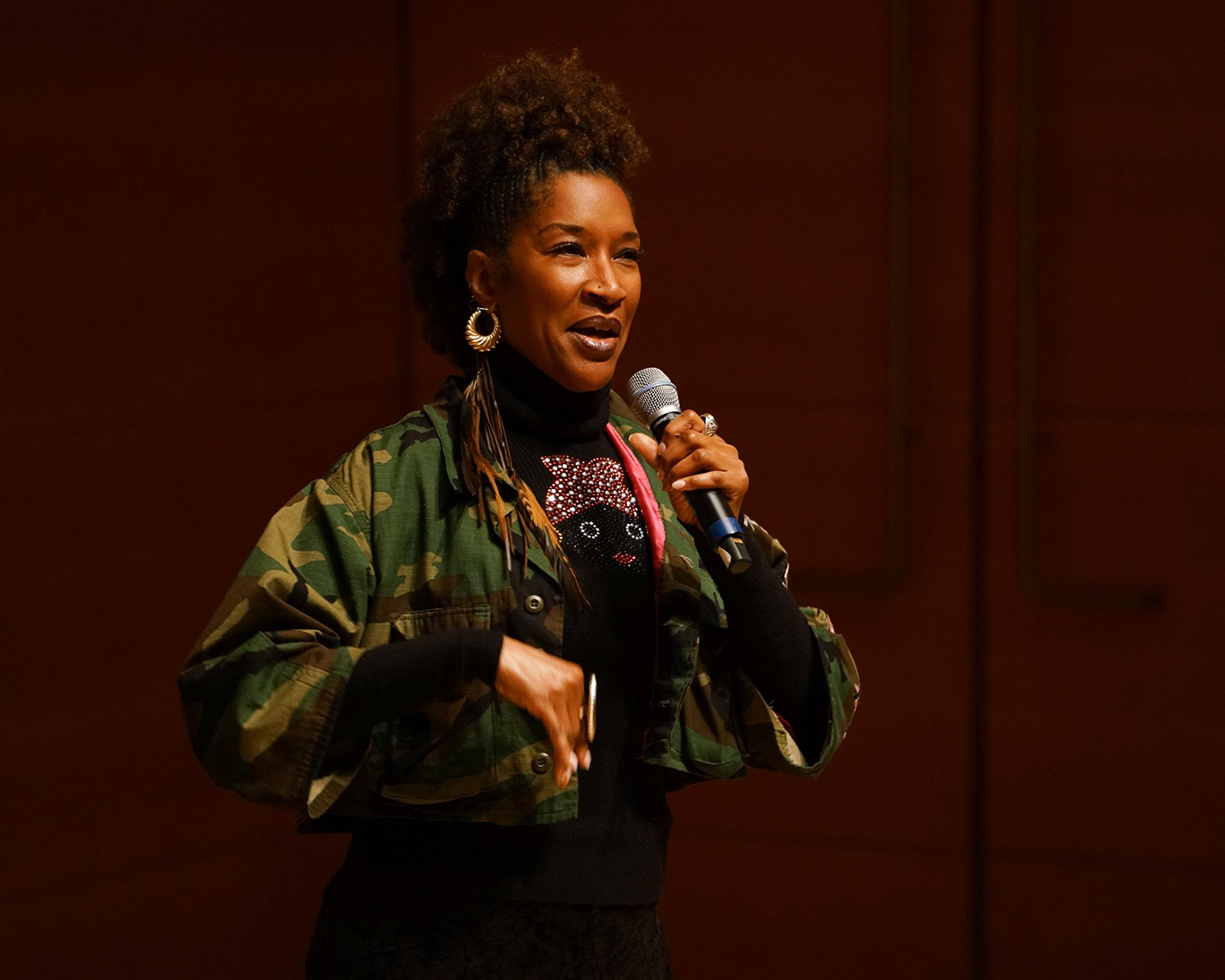 The writer and actress Liza Jessie Peterson performing a scene from her one-woman show The Peculiar Patriot at the Getty Center in Los Angeles Monday night Owen Kolasinski/BFA.com