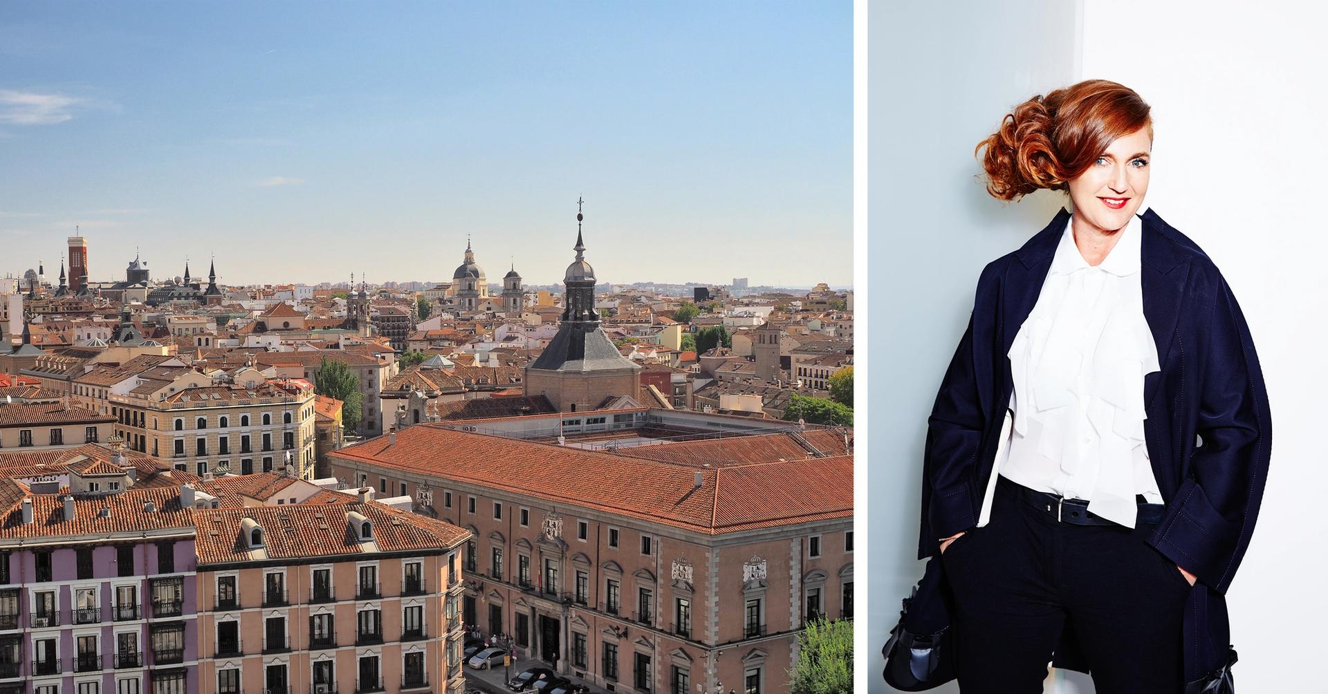 Since closing her exhibition space in Vienna, the Austrian collector and philanthropist Francesca Thyssen-Bornemisza has turned her focus to Madrid Left: Madrid cityscape (photo: Dmitry Dzhus); right: Francesca Thyssen-Bornemisza (photo: Irina Gavrich, 2014 © Francesca Thyssen-Bornemisza, 2013)