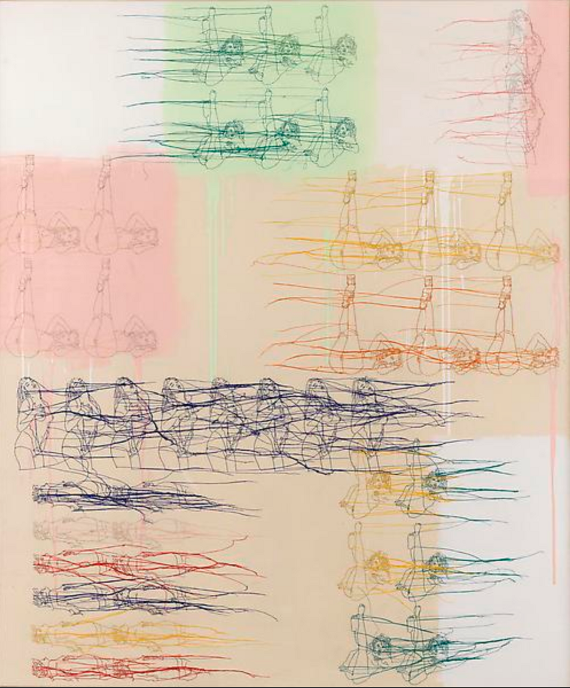 Ghada Amer THE SLIGHTLY SMALLER COLORED SQUARE PAINTING  (200) Courtesy of Cheim & Read