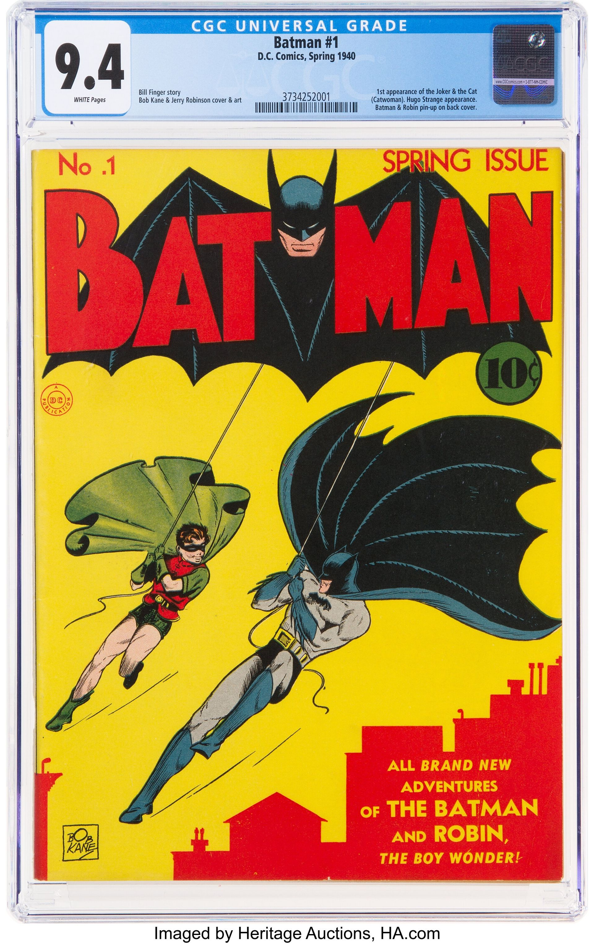 This copy of Batman #1 (1940), written by Bill Finger and drawn by Bob Kane, with art assistance from Jerry Robinson and Sheldon Moldoff, sold for $2.22m at Heritage Auctions