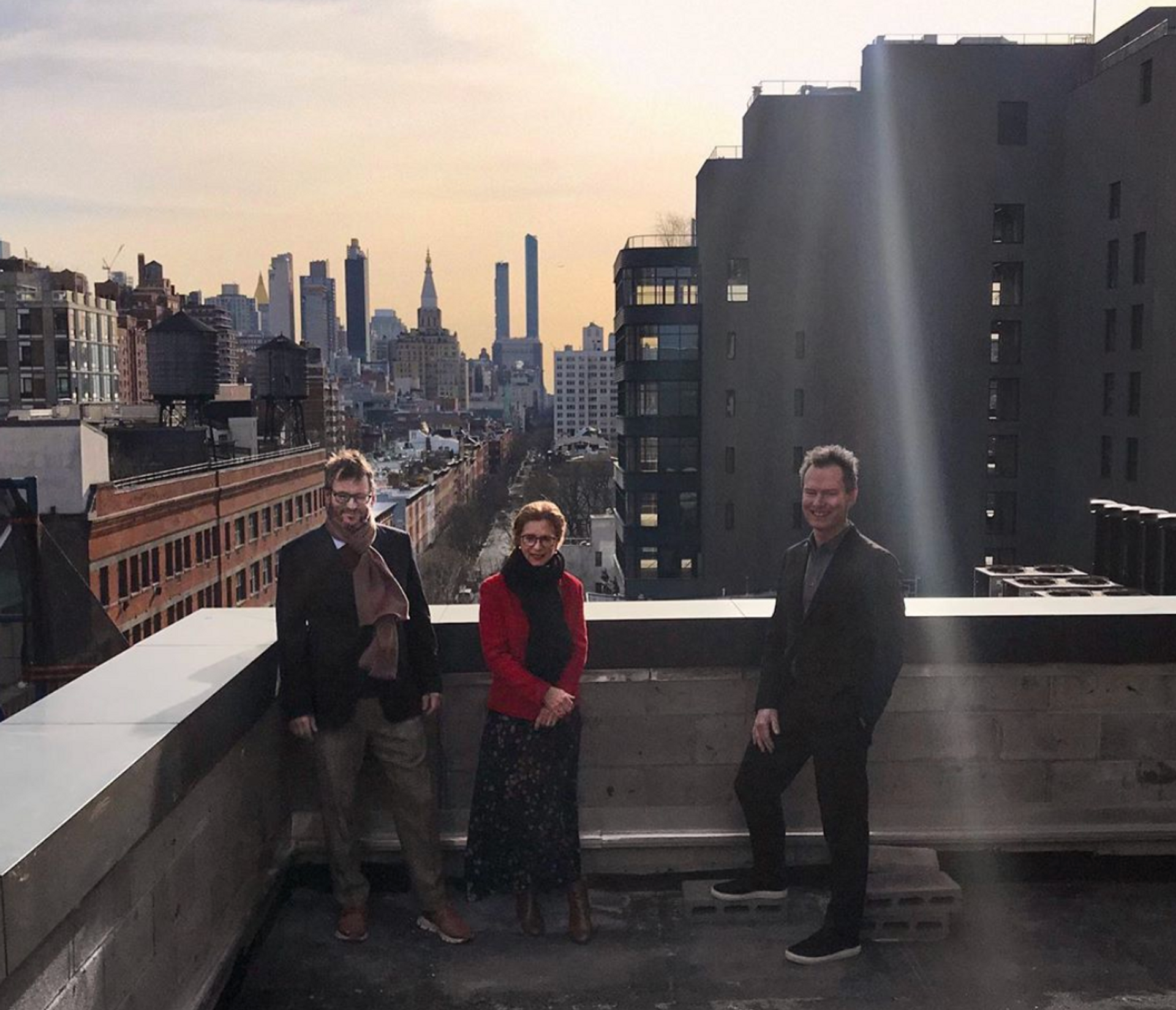Iwan and Manuela Wirth and Marc Payot on the rooftop of Hauser & Wirth New York, 22nd Street, February 2020 Courtesy of Hauser & Wirth