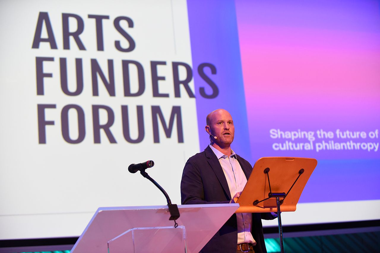 Sean McManus, one of the founders of the Arts Funders Forum, speaks in Miami Photo: Luis Olazabal, Courtesy Arts Funders Forum
