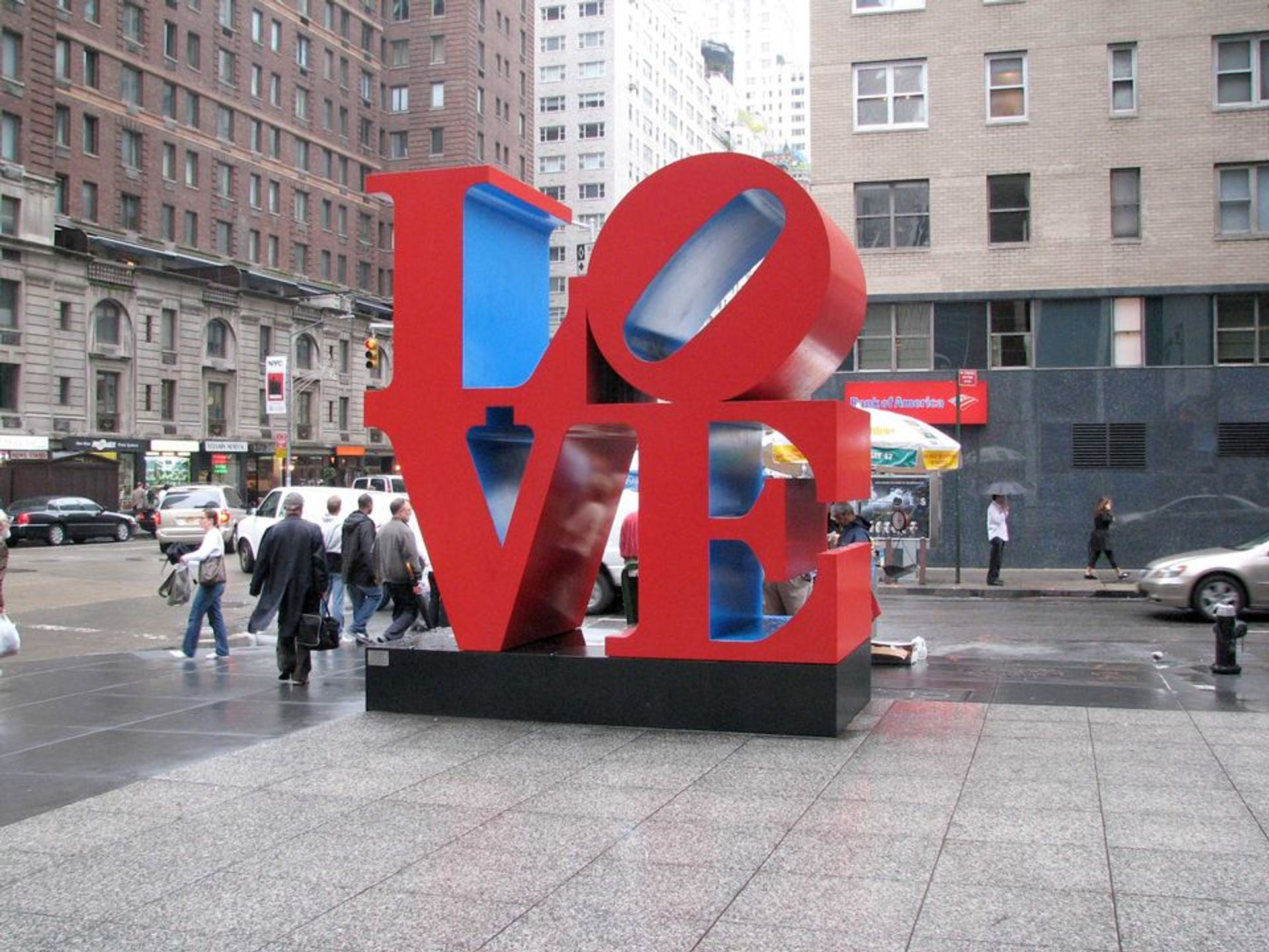 LOVE sculpture by Robert Indiana, on the corner of 6th Avenue and 55th Street in New York.