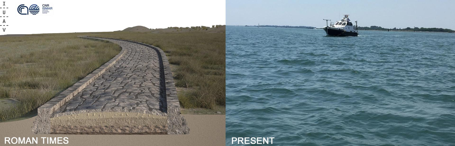 A rendering of the Roman Road (left) in the Treporti Channel of the Venice Lagoon, made on the basis of the multibeam data, and the same area now submerged Credit: Antonio Calandriello and Giuseppe D'Acunto (rendering), and Fantina Madricardo (photo)
