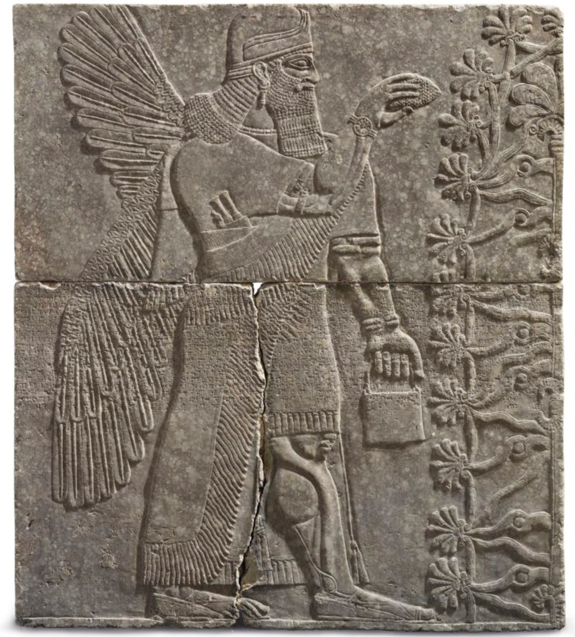An Assyrian gypsum relief of a Winged Genius sold for $30.1m on 31 October in New York. Courtesy of Christie's Images Ltd 2018.