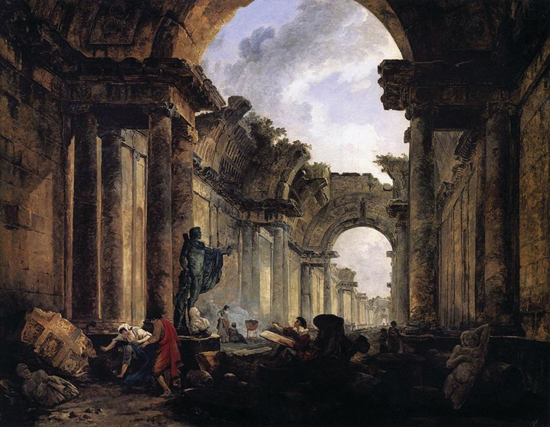 Climate apocalypse will hit museums too: Hubert Robert's Imaginary View of the Grande Galerie in the Louvre in Ruins (1796) © Musée du Louvre
