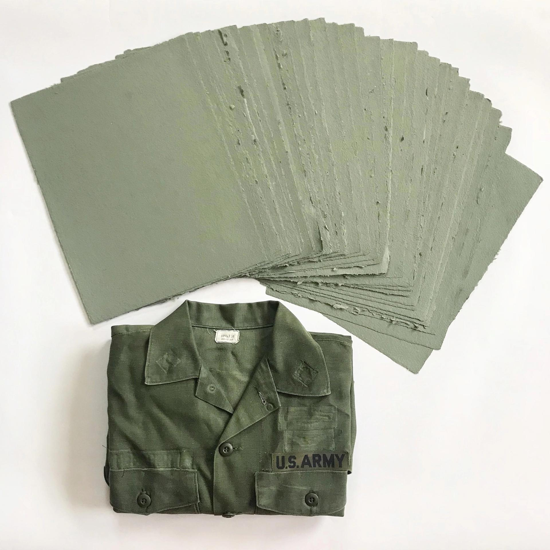 Combat Paper, a veteran-artisan collective led by Drew Cameron, transform donated military fatigues into paper for art making
