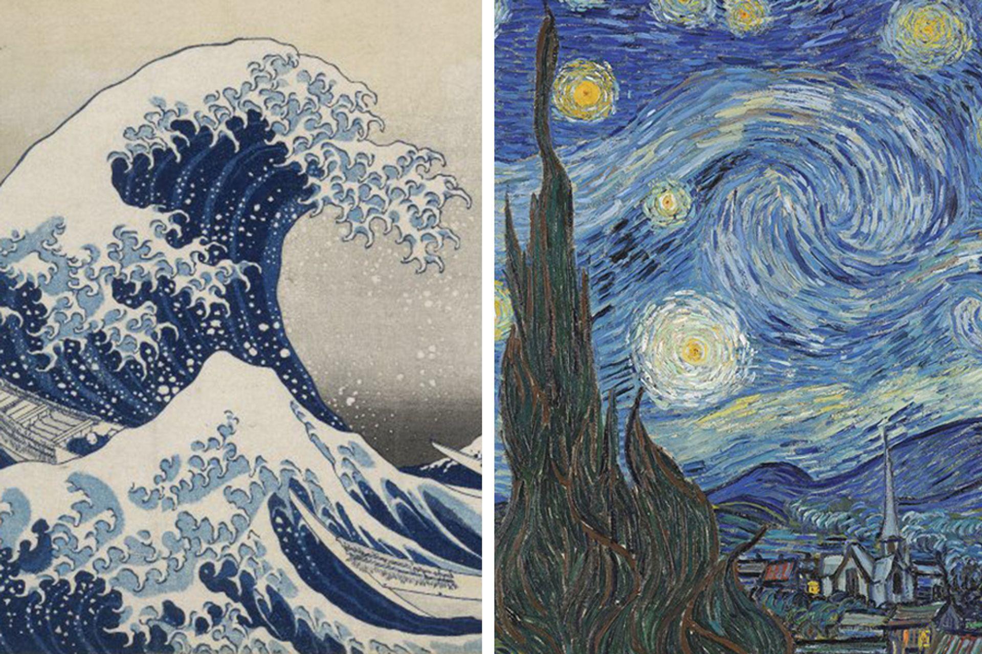 Left: Katsushika Hokusai, The Great Wave, about 1831. Right: Van Gogh, Starry Night, June 1889 Hokusai: © the Trustees of the British Museum, London. Van Gogh: courtesy of the Museum of Modern Art, New York, USA / Bridgeman Images