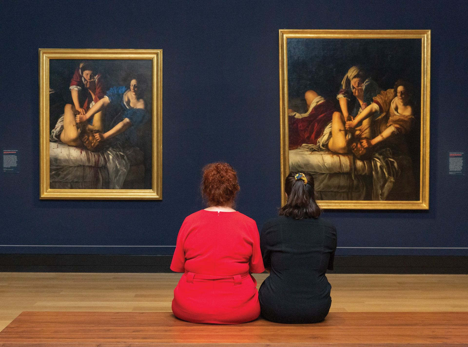 The two images of Judith beheading Holofernes sit side by side in the exhibition The National Gallery, London