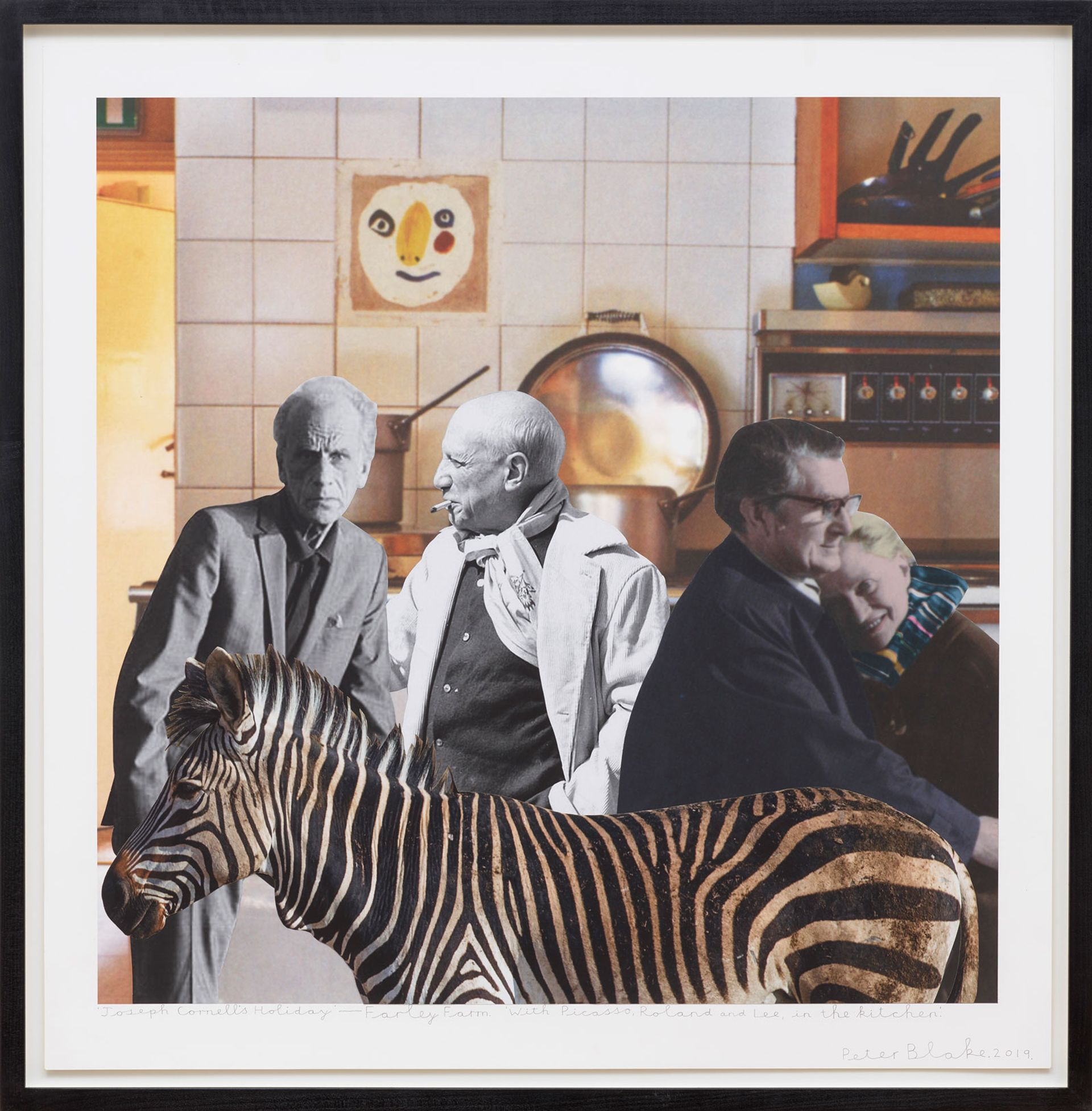 Peter Blake's Joseph Cornell's Holiday – England, Farley Farm. With Picasso, Roland and Lee in the kitchen (2019) Courtesy the artist and Waddington Custot