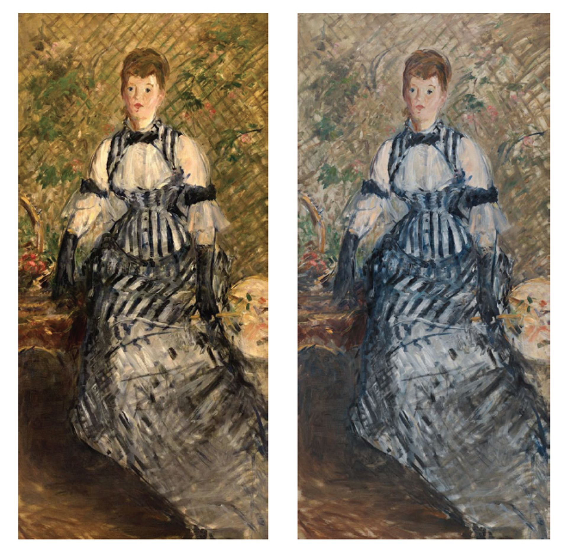 Édouard Manet, Woman in Striped Dress, before and after treatment, (1877-80) Solomon R. Guggenheim Foundation, 2018; photos: Kris McKay and Allison Chipak