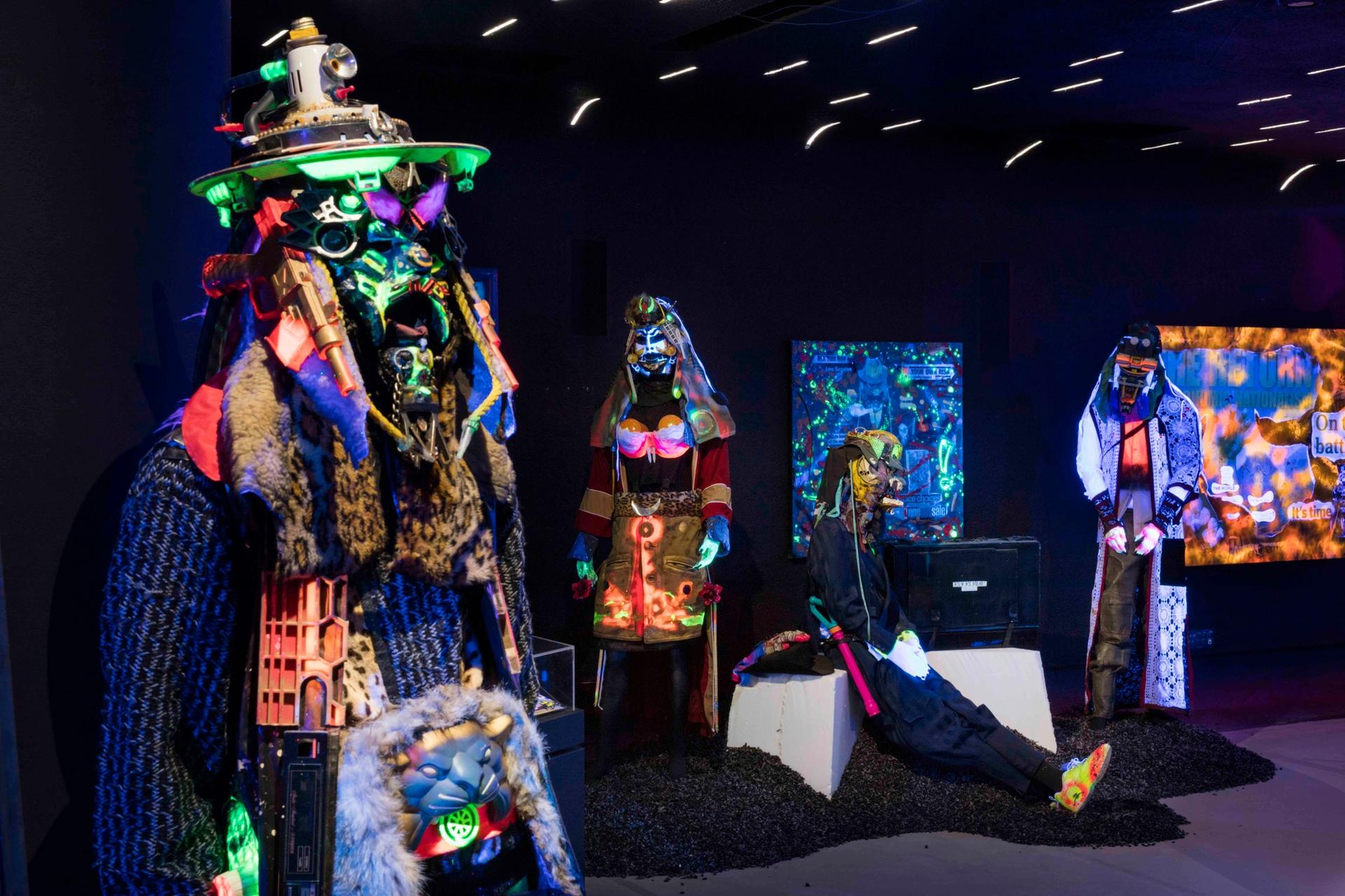 Exhibition view of Rammellzee: Racing For Thunder at Red Bull Arts New  York, showing the artist's Garbage Gods Photo by Lance  Brewer. Courtesy of Red Bull Arts New York. All work  ©2018 The Rammellzee Estate