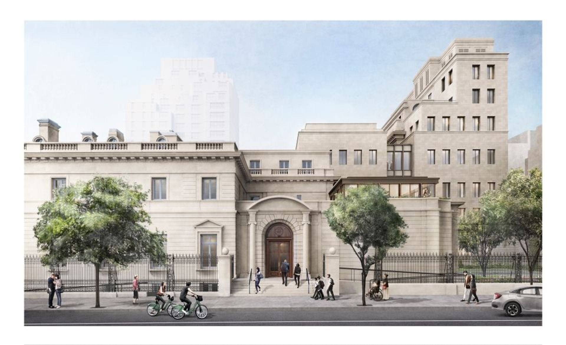 Rendering of the Frick Collection expansion from 70th Street courtesy Selldorf Architects