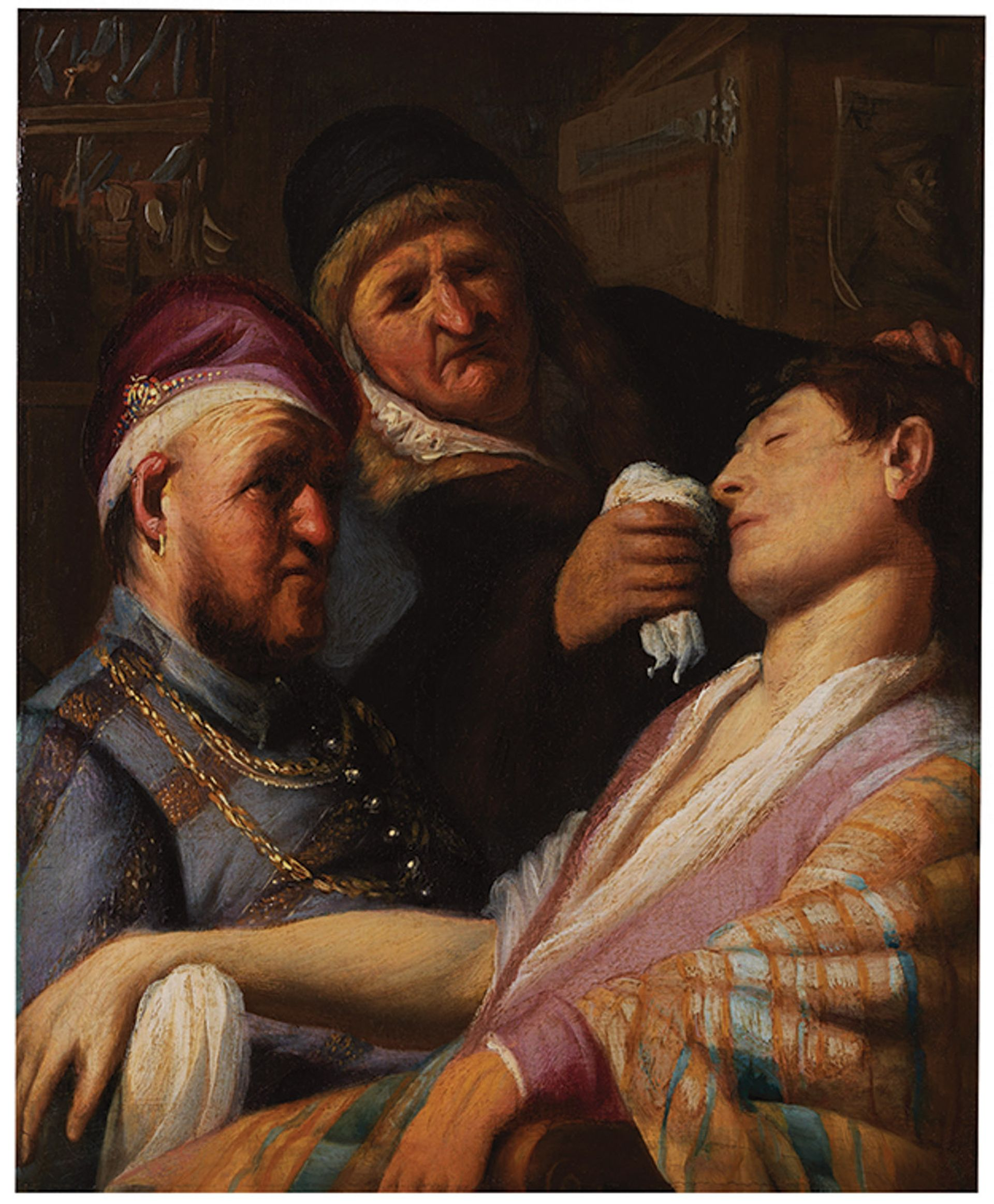Rembrandt's Unconscious Patient (Allegory of Smell) van Rijn (around 1624–25) belonged to Jay Rappoport's grandfather Courtesy of The Leiden Collection